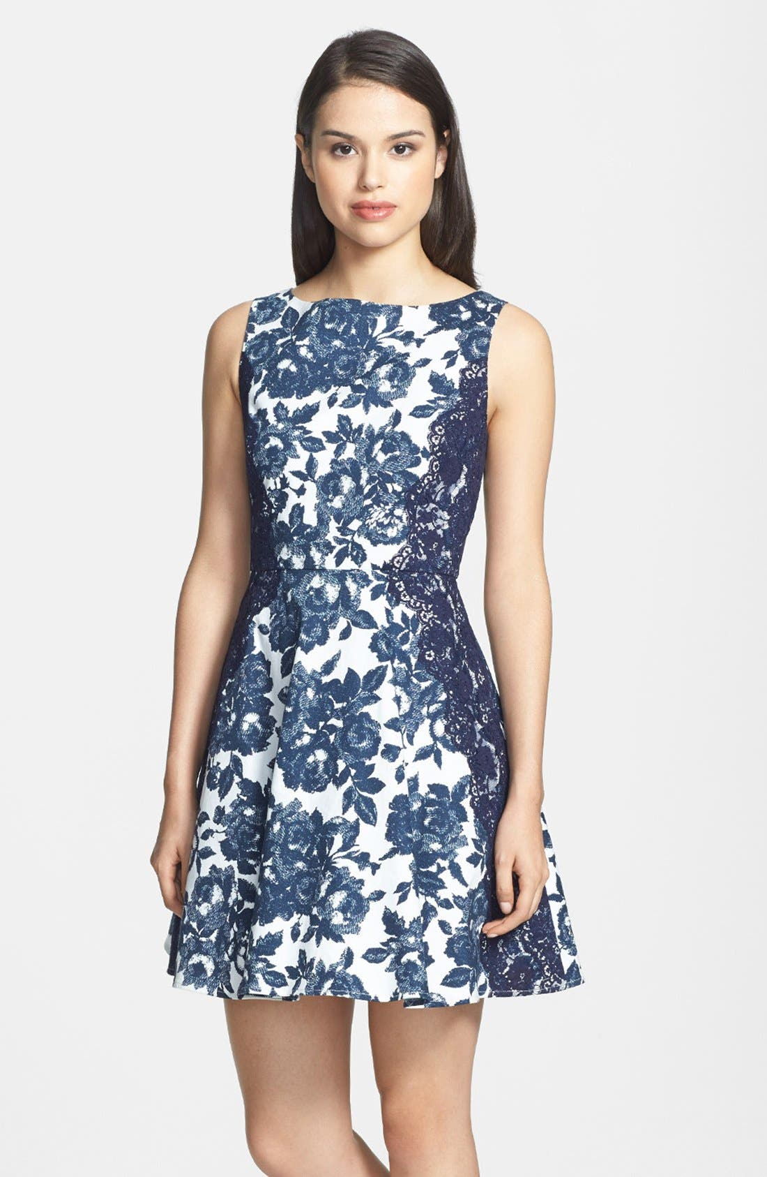 Main Image - Jessica Simpson Floral Print Twill Fit & Flare Dress