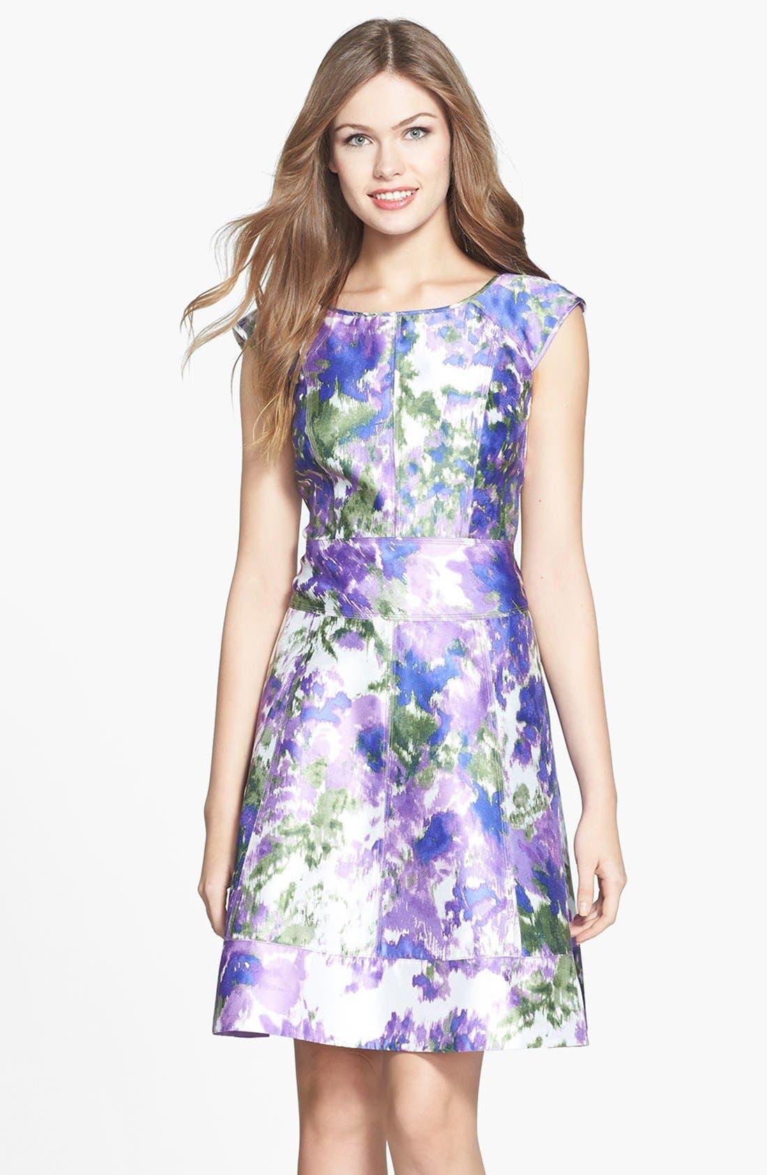 Main Image - Maggy London Print Taffeta Fit & Flare Dress (Regular & Petite)