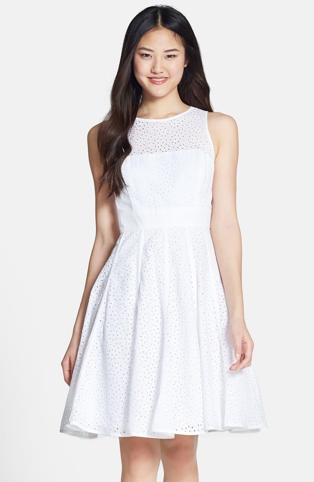 Alternate Image 1 Selected - Eliza J Eyelet Fit & Flare Dress