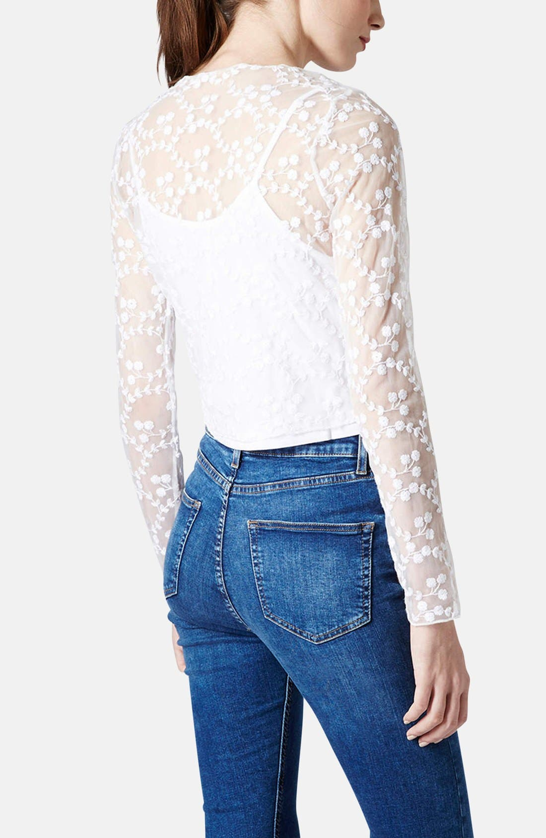 Alternate Image 2  - Topshop Embroidered Floral Mesh Top