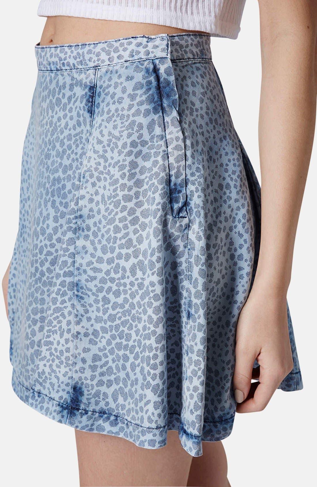 Alternate Image 4  - Topshop Leopard Print Denim Skater Skirt