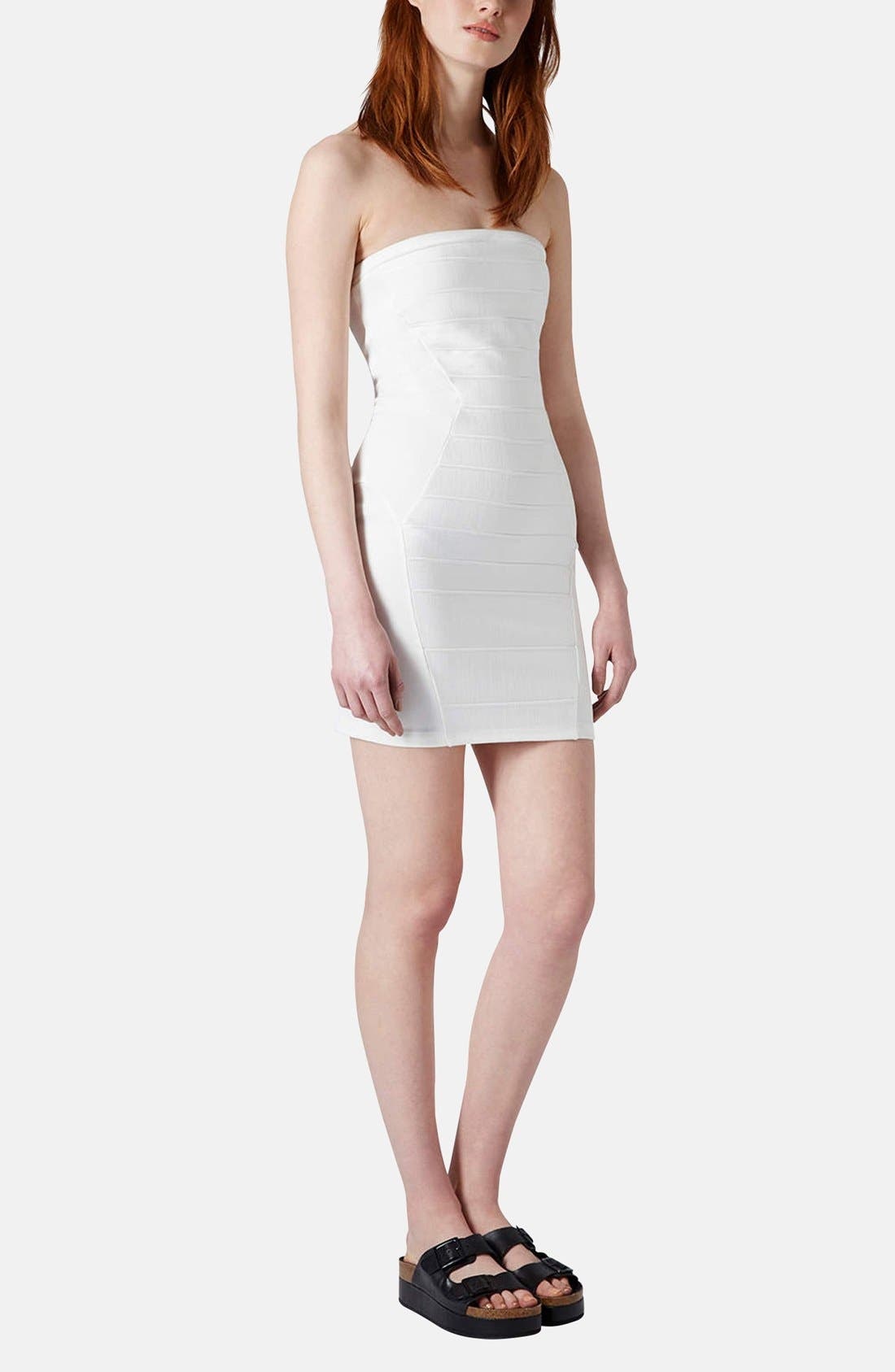 Alternate Image 5  - Topshop Strapless Satin Body-Con Dress (Petite)