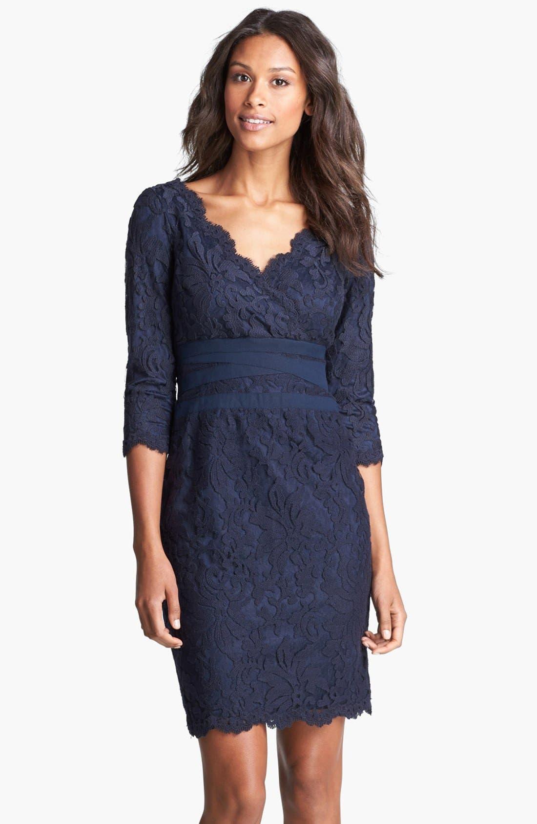 Alternate Image 1 Selected - Tadashi Shoji Lace Sheath Dress (Regular & Petite)