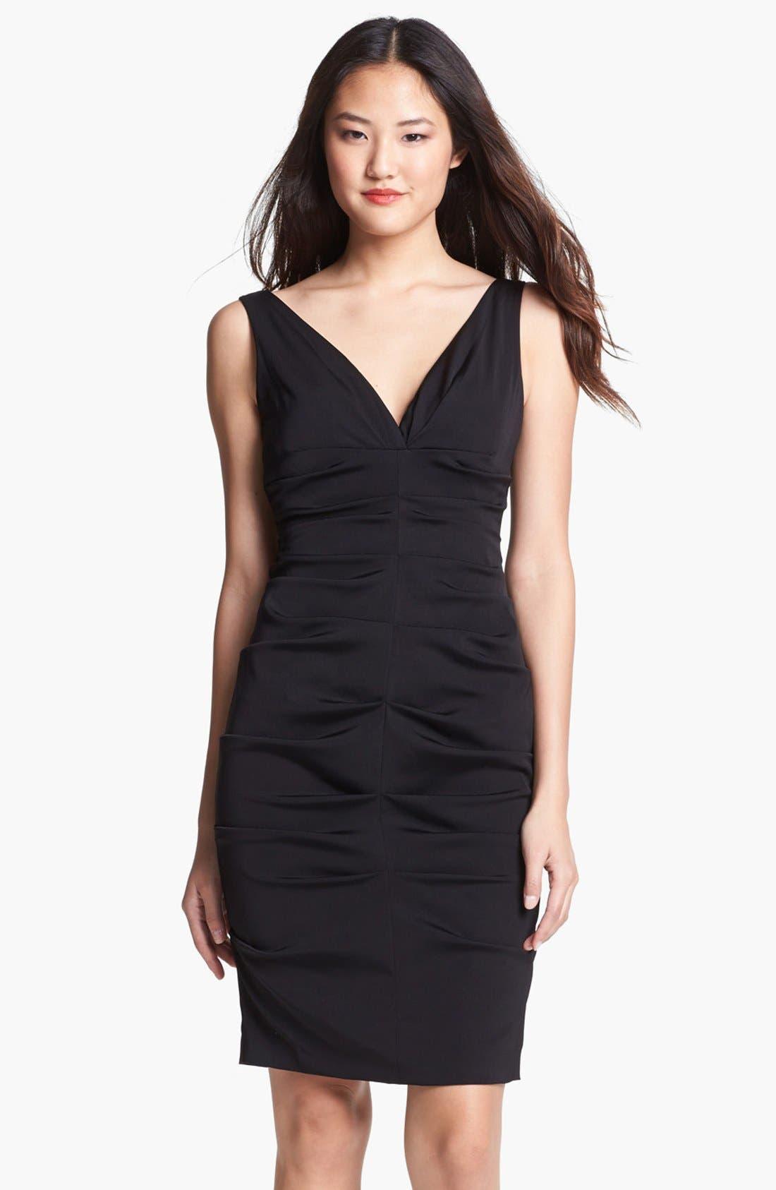 Main Image - Xscape Gathered Stretch Crepe Sheath Dress