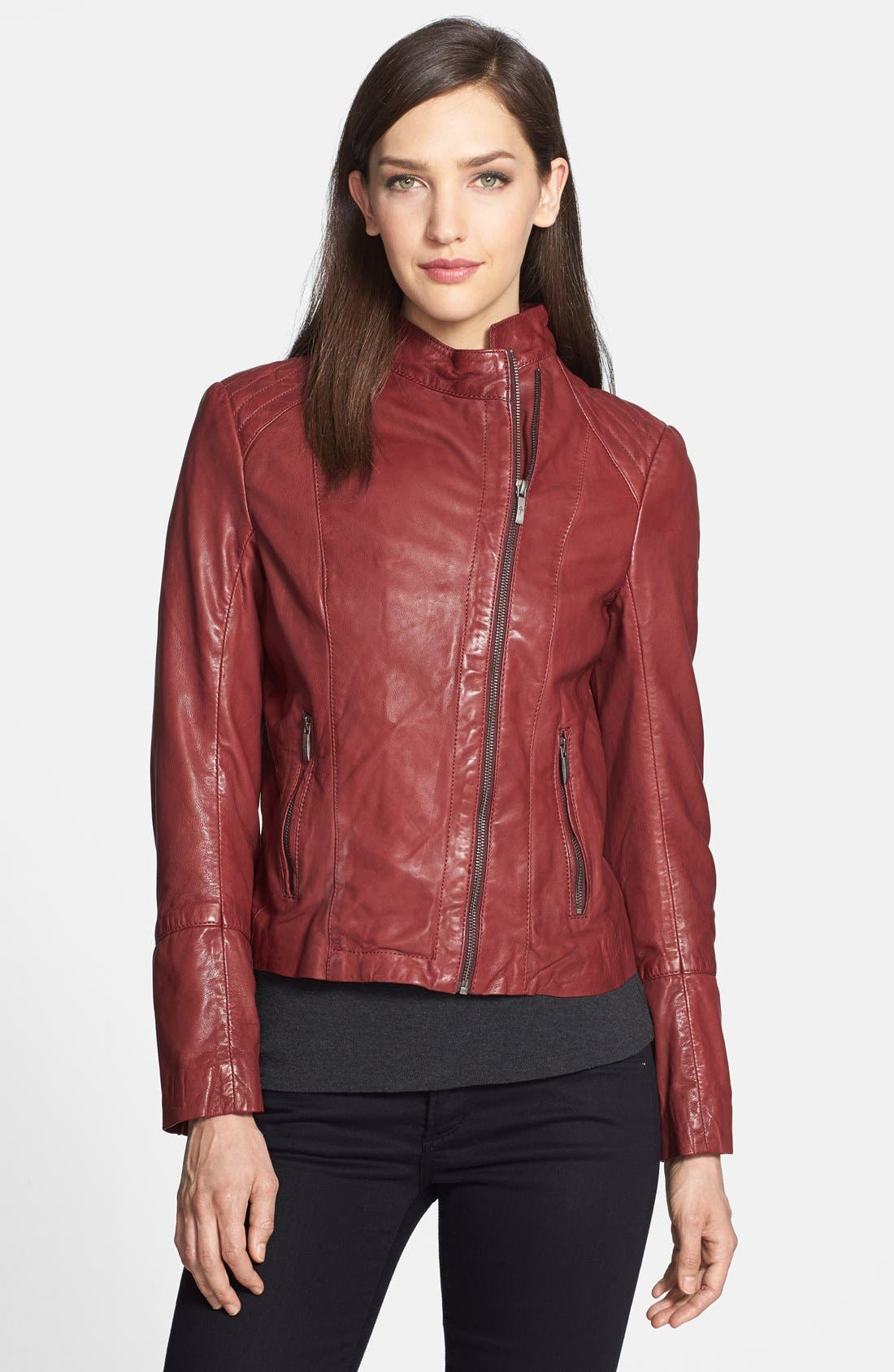 Alternate Image 1 Selected - Cole Haan Lambskin Leather Moto Jacket