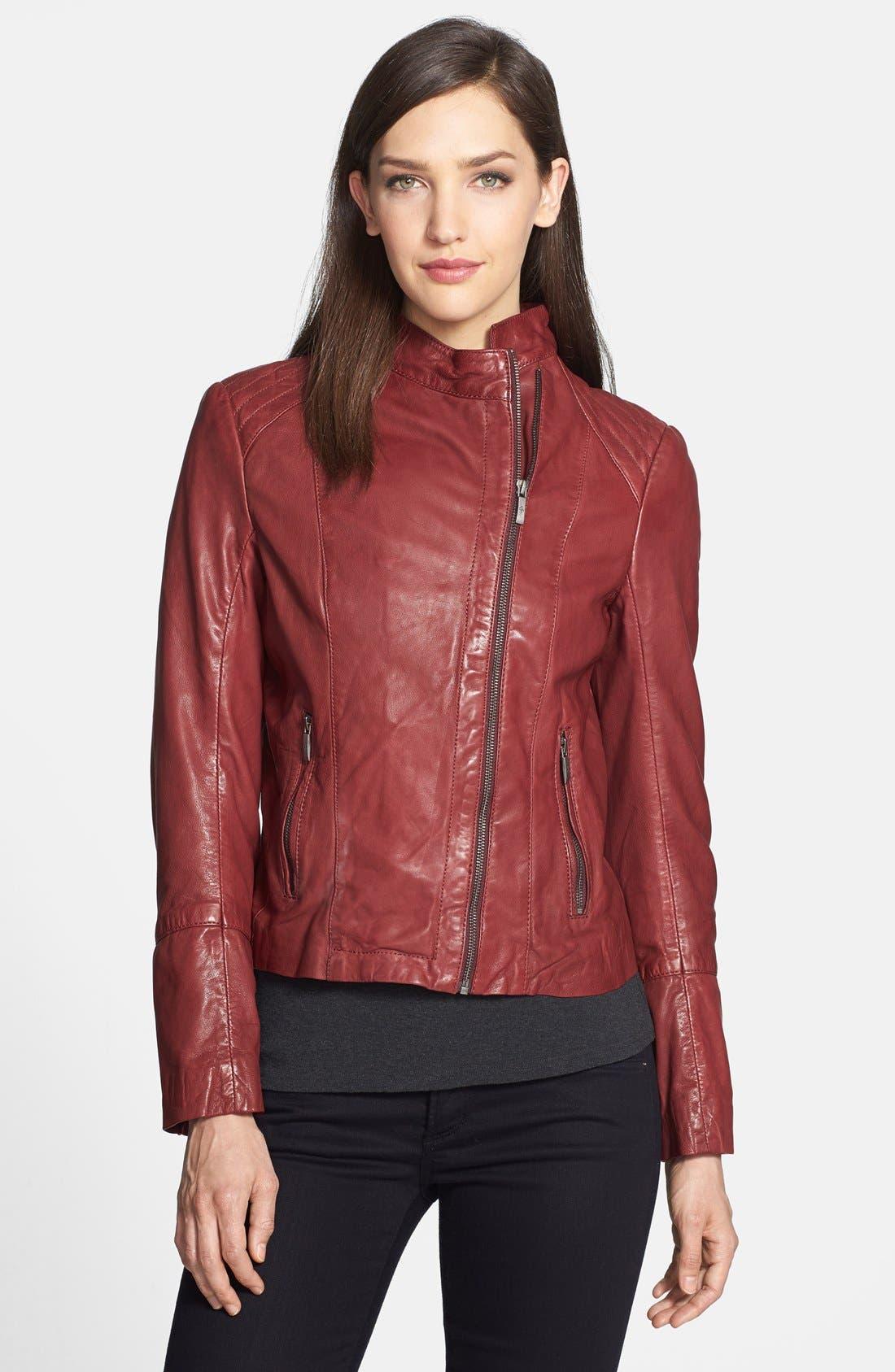 Main Image - Cole Haan Lambskin Leather Moto Jacket