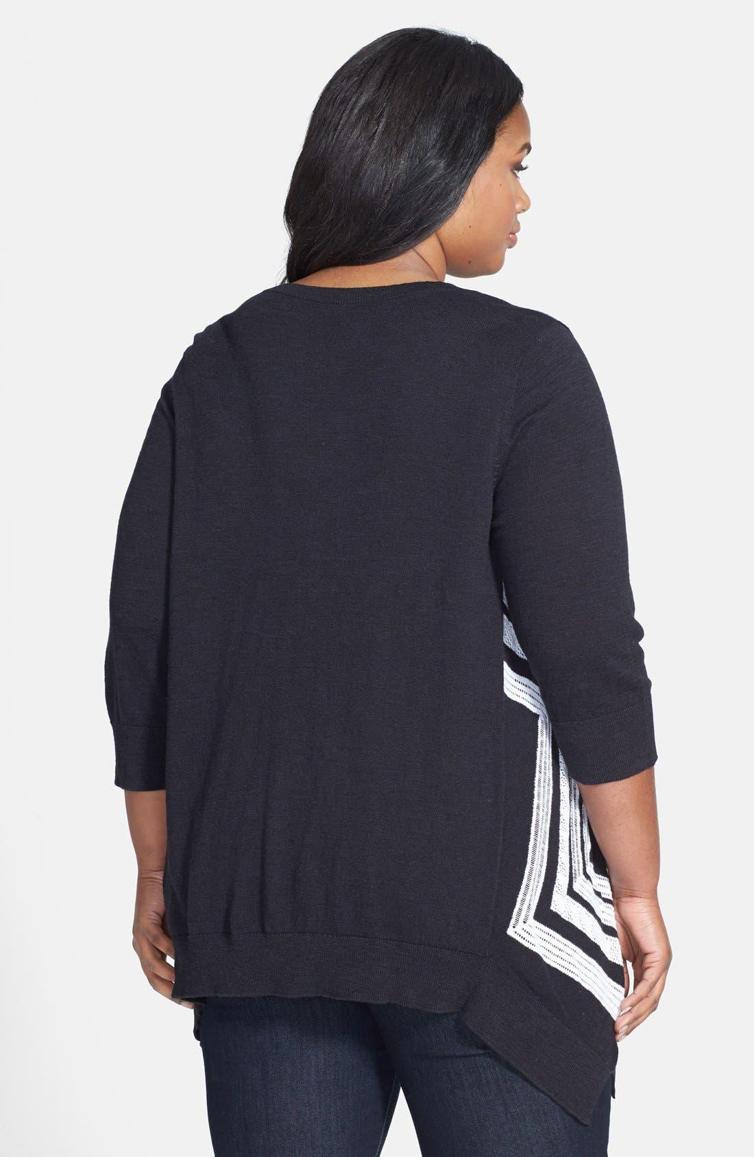 Alternate Image 2  - Sejour 'Telstar Jacquard' V-Neck Pullover (Plus Size)