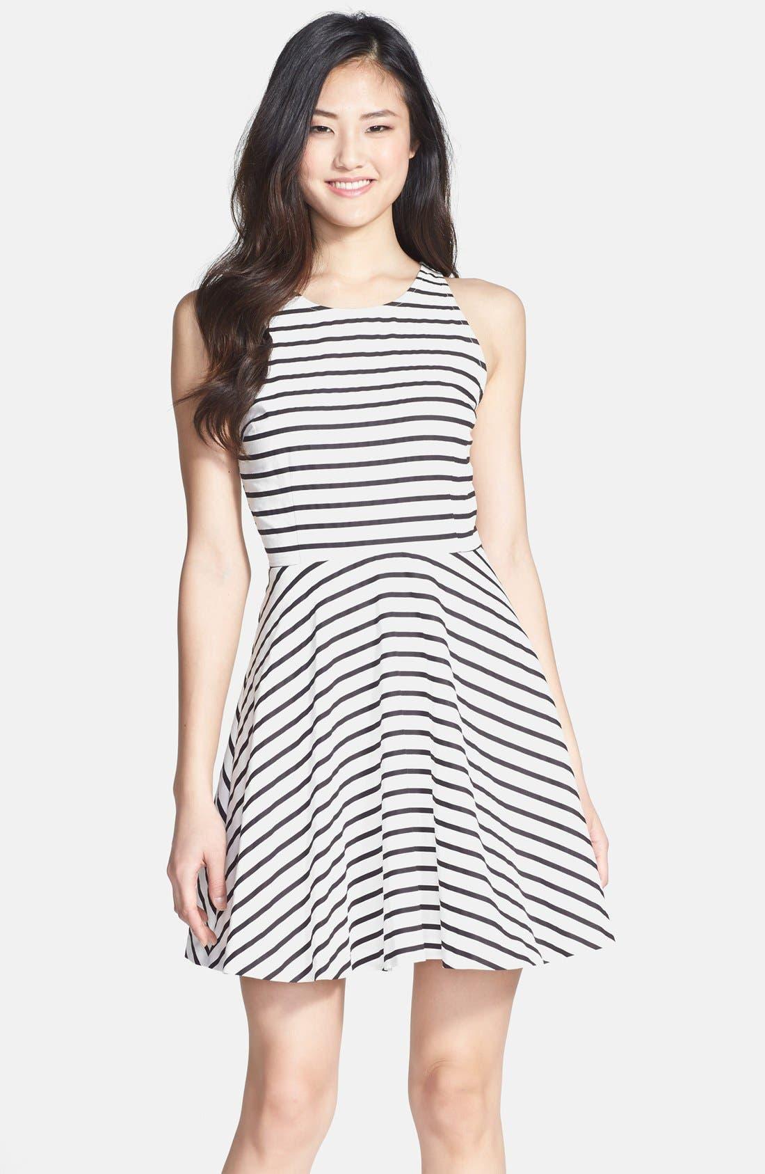 Back Cutout Stripe Cotton Sateen Fit & Flare Dress,                         Main,                         color, Black/ White