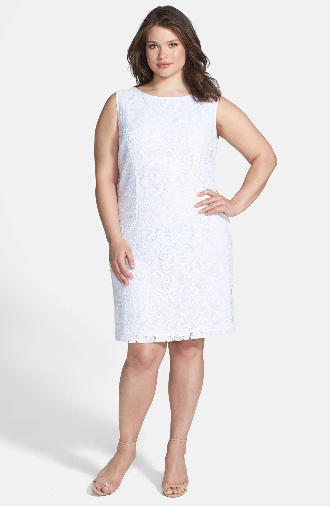 Main Image - London Times Sleeveless Lace Sheath Dress (Plus Size)