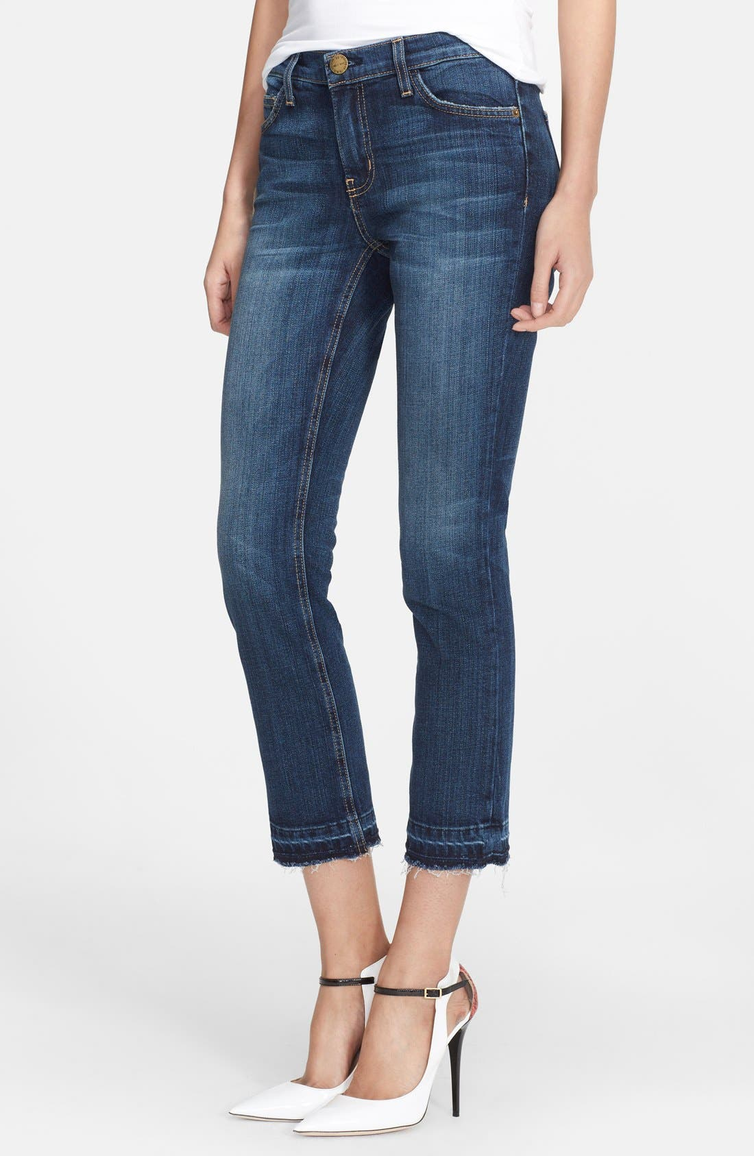Current/Elliott The Cropped Straight Released Hem Jeans (Loved Let Out Hem)