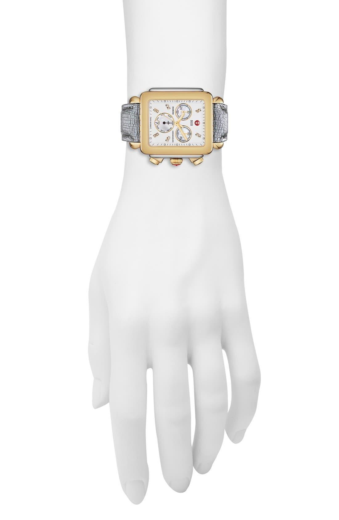 Alternate Image 2  - MICHELE 'Deco XL' Diamond Dial Watch Case, 37mm x 38mm
