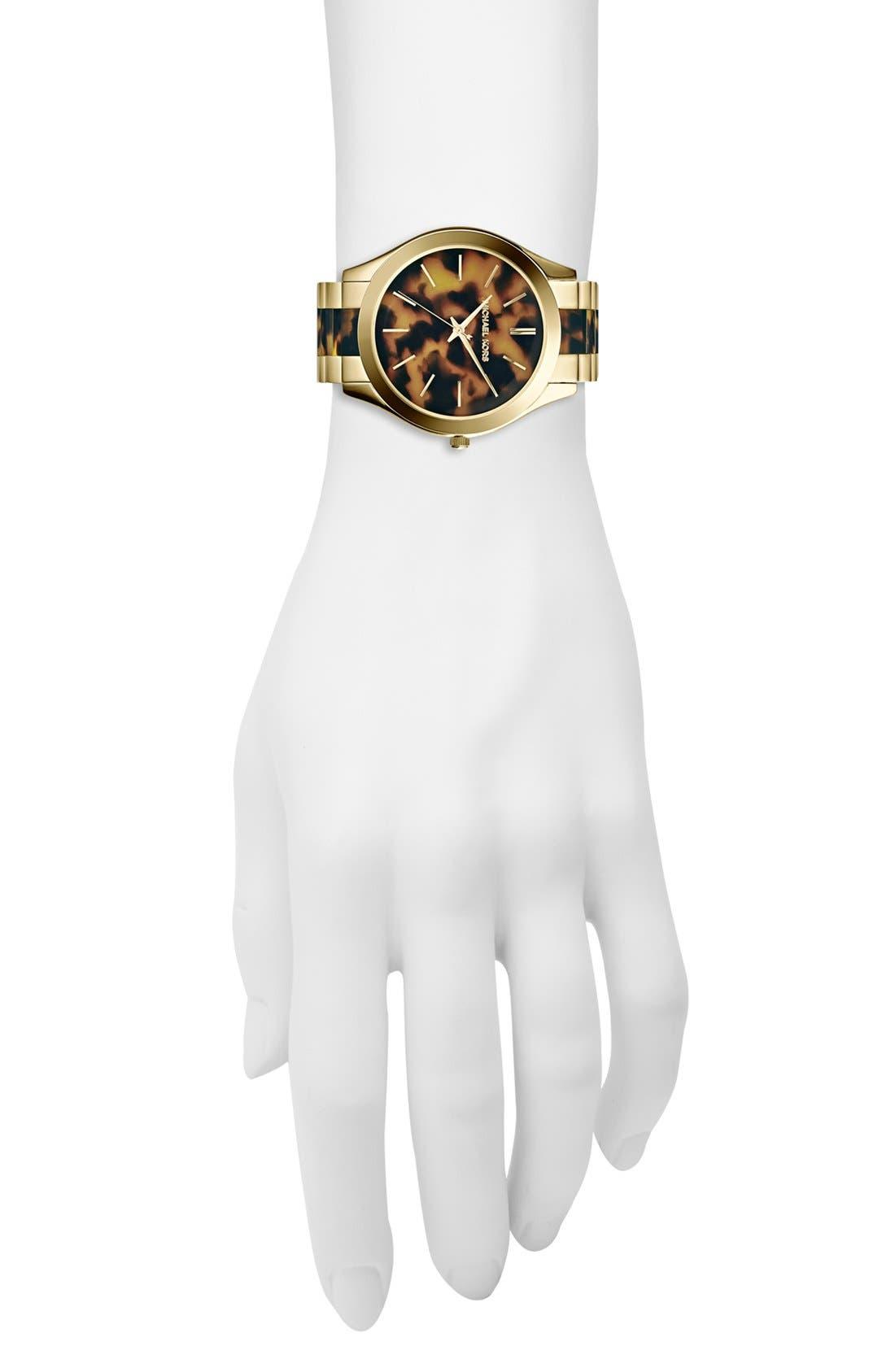 Michael Kors 'Slim Runway' Round Bracelet Watch, 42mm,                             Alternate thumbnail 4, color,                             Tortoise/ Gold