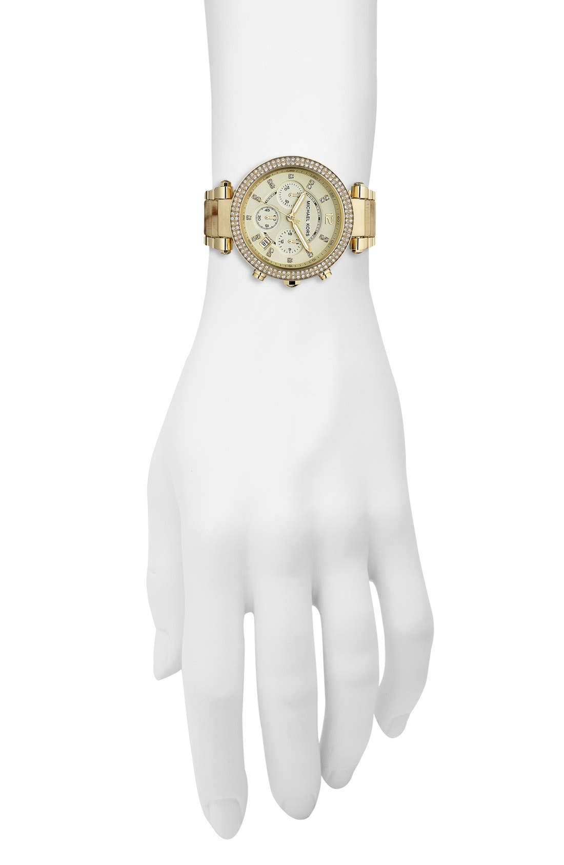 'Parker' Chronograph Watch, 39mm,                             Alternate thumbnail 4, color,                             Gold/ Horn