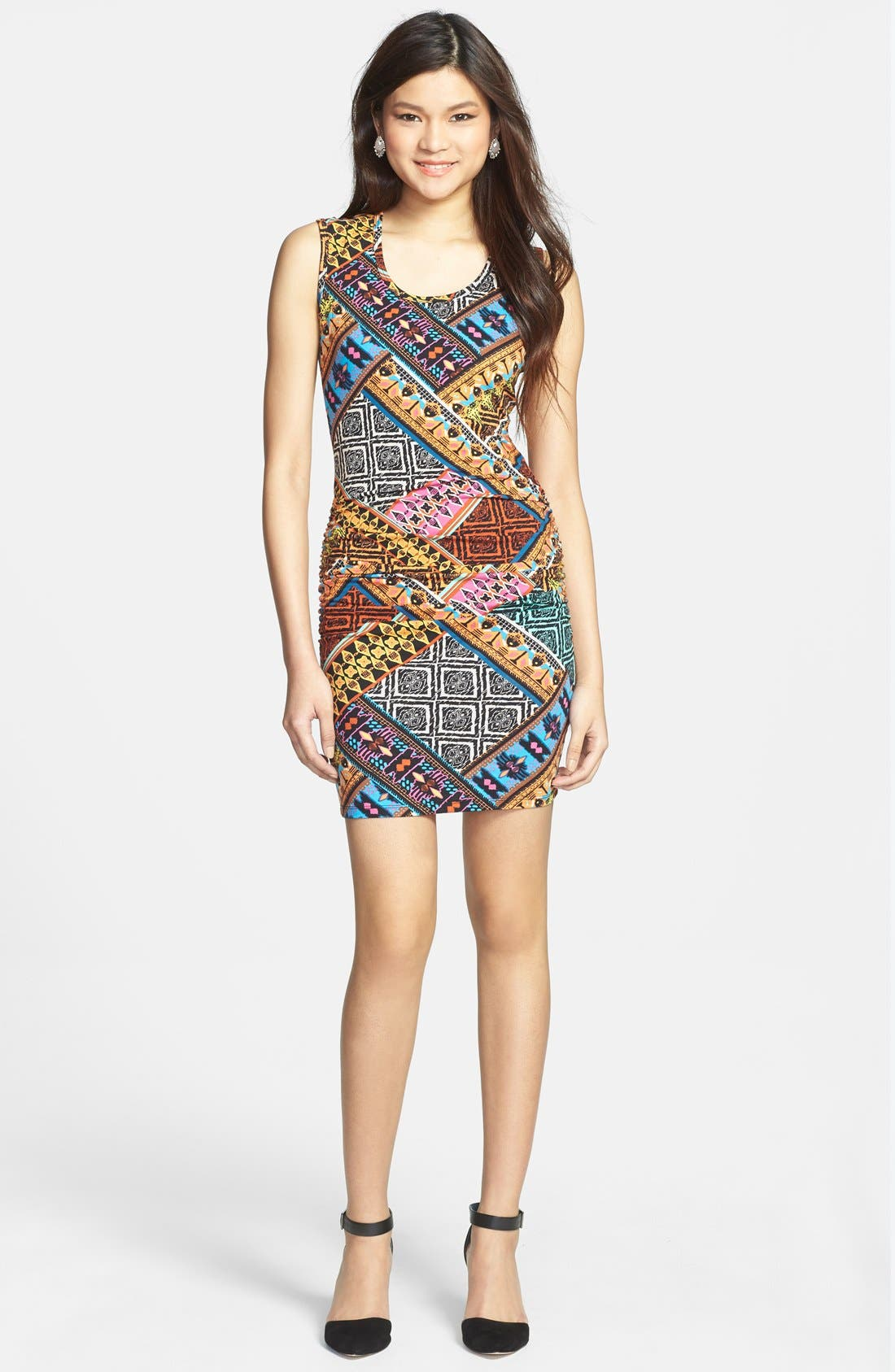 Main Image - Liberty Love Ruched Print Body-Con Dress (Juniors)