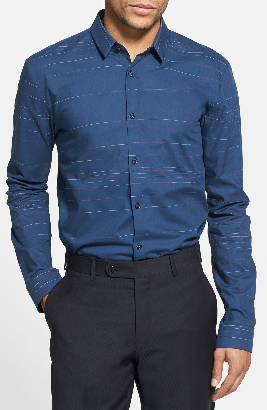 Alternate Image 1 Selected - HUGO 'Ero' Slim Fit Stripe Sport Shirt