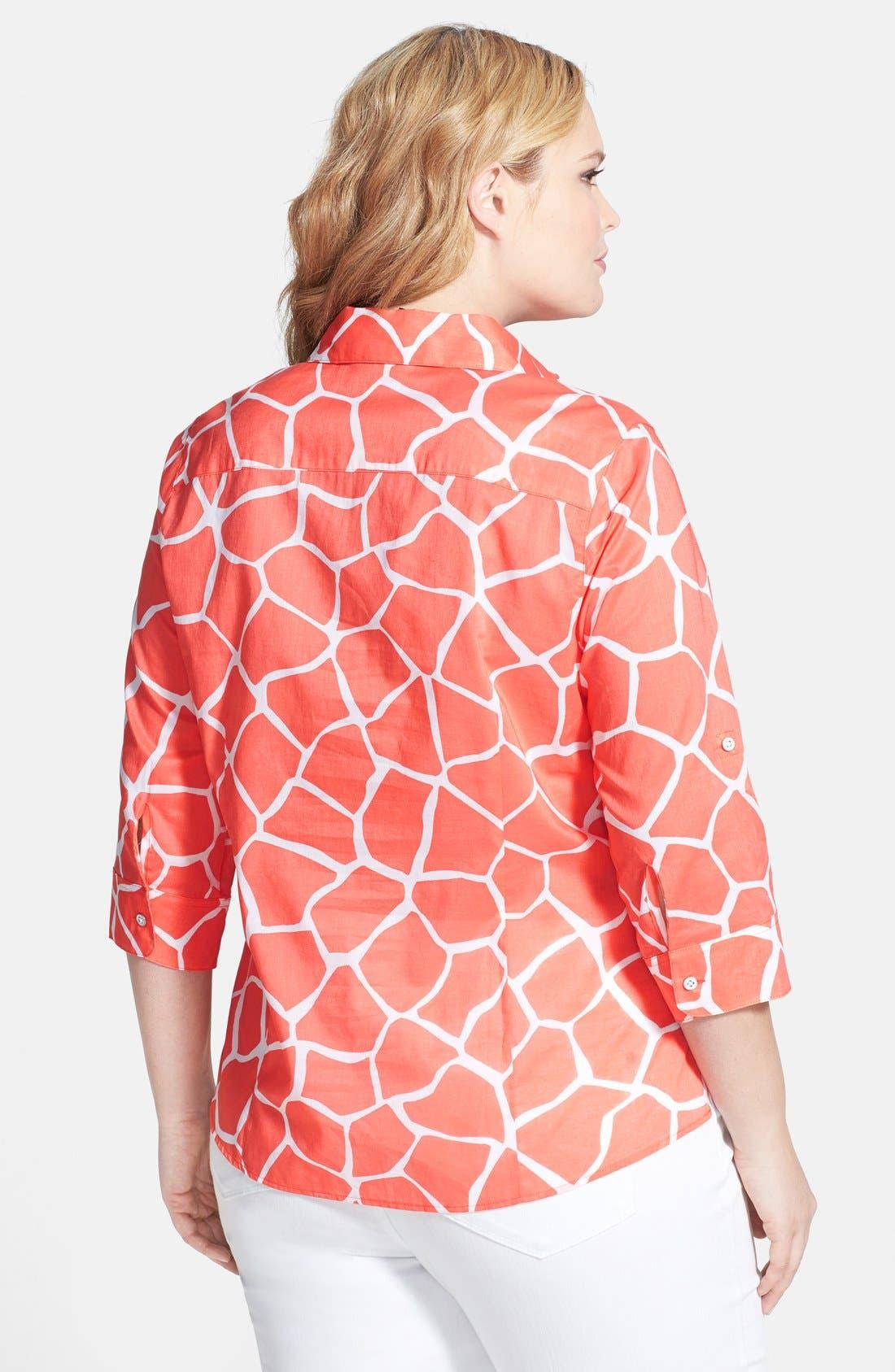 Alternate Image 2  - Foxcroft Fitted Giraffe Print Cotton Roll Sleeve Shirt (Plus Size)