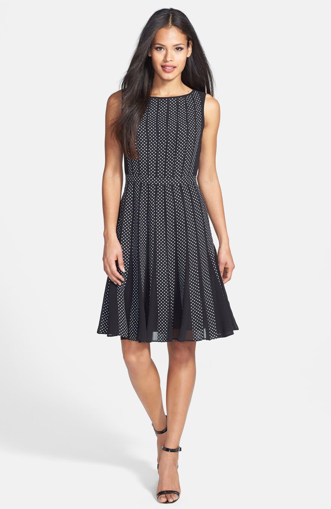 Alternate Image 3  - Adrianna Papell Polka Dot Chiffon Fit & Flare Dress