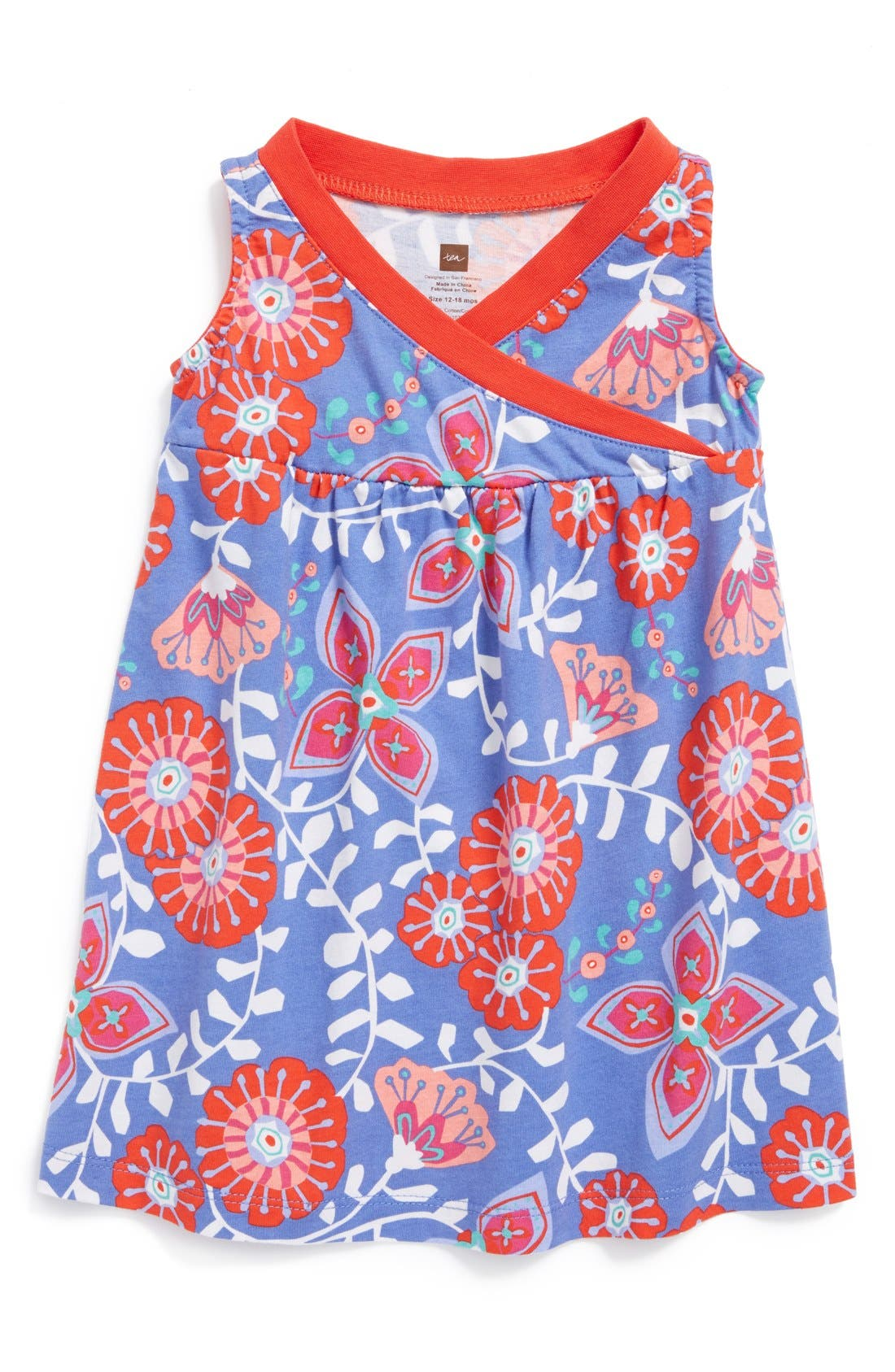 Alternate Image 1 Selected - Tea Collection 'Royal Flower' Faux Wrap Dress (Baby Girls)
