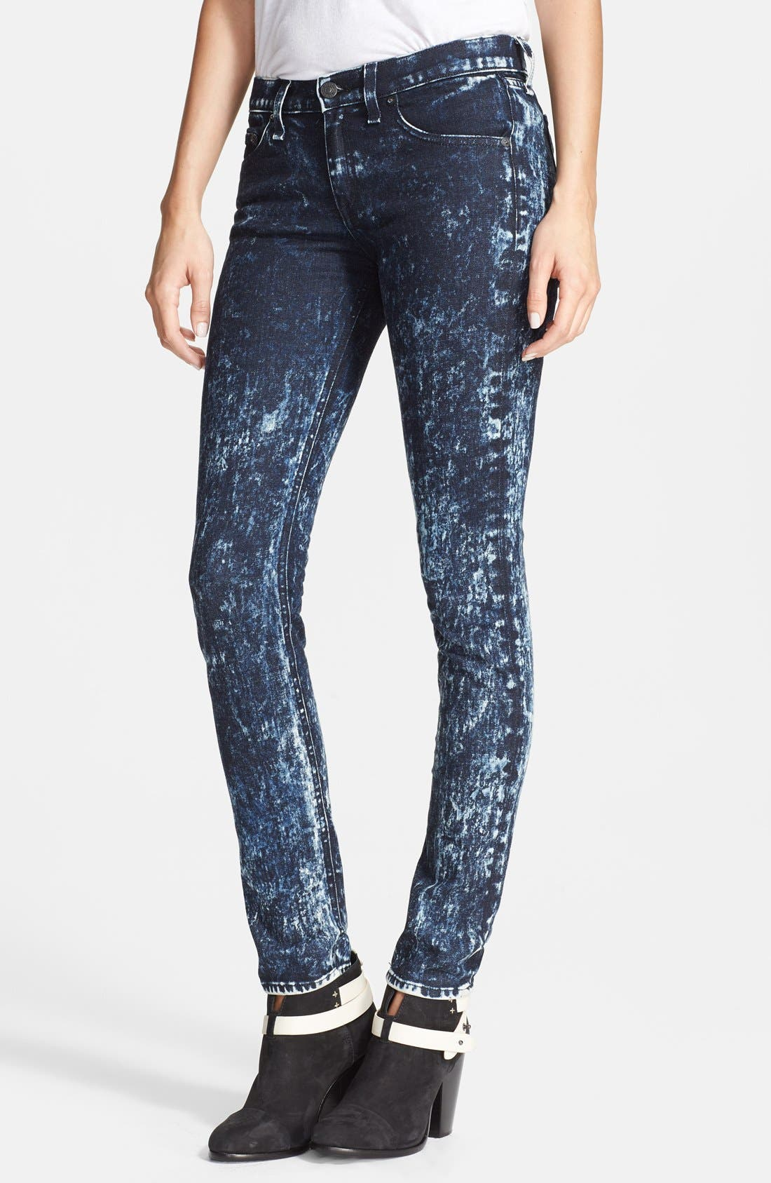 Alternate Image 1 Selected - rag & bone/JEAN Stretch Skinny Jeans (Acid Wash/Black/White)