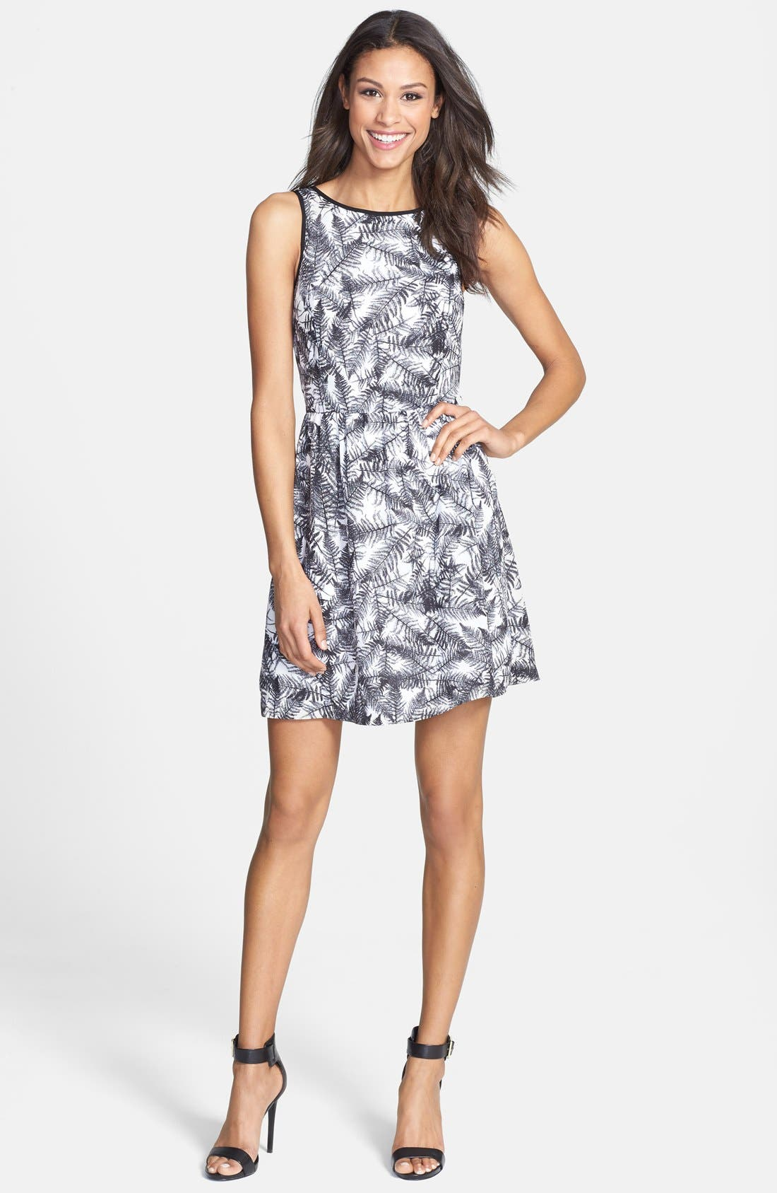 Alternate Image 1 Selected - kensie 'Overlapped Ferns' Print Fit & Flare Dress