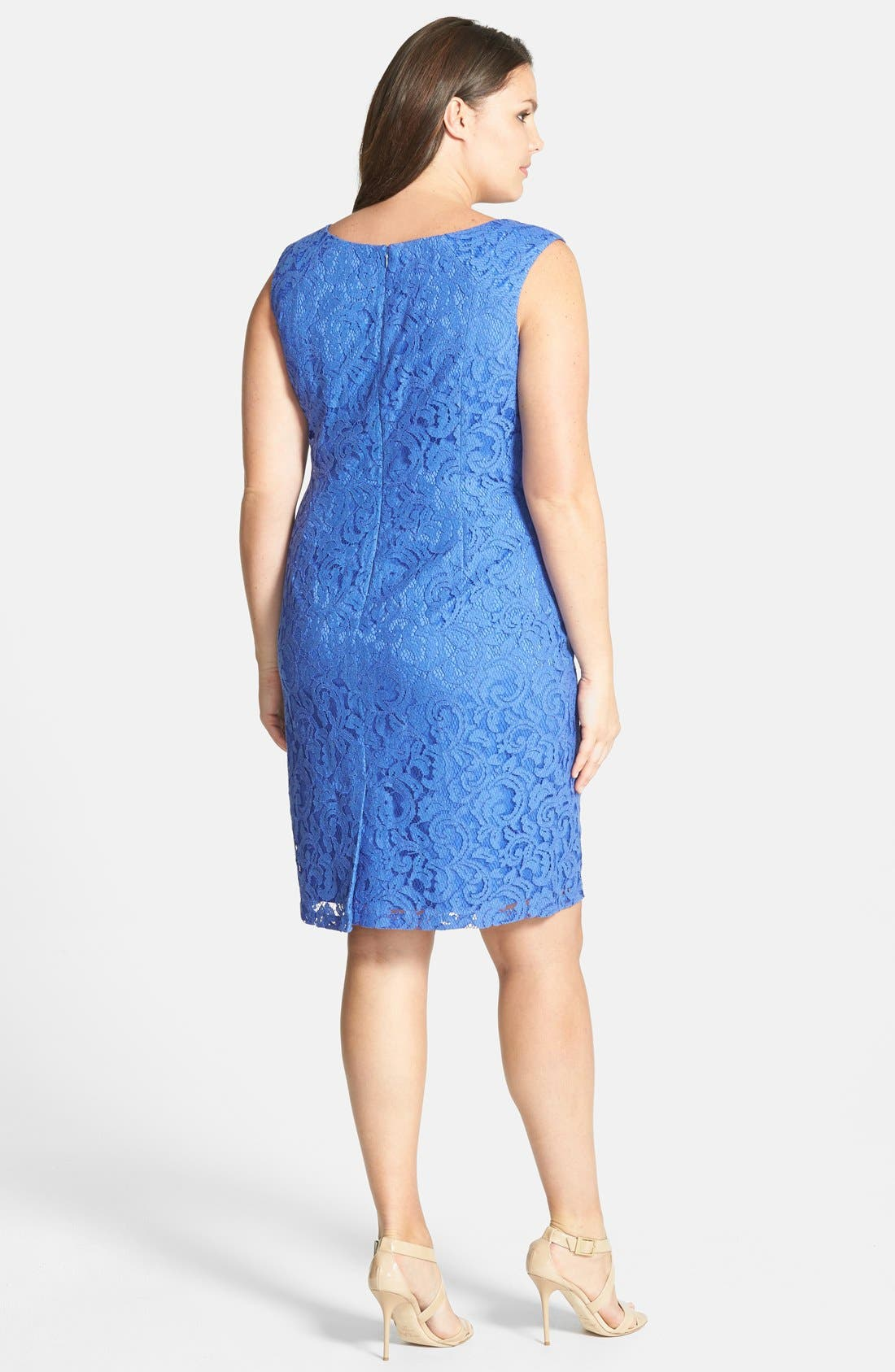 Alternate Image 2  - Adrianna Papell Sleeveless Lace Sheath Dress (Plus)