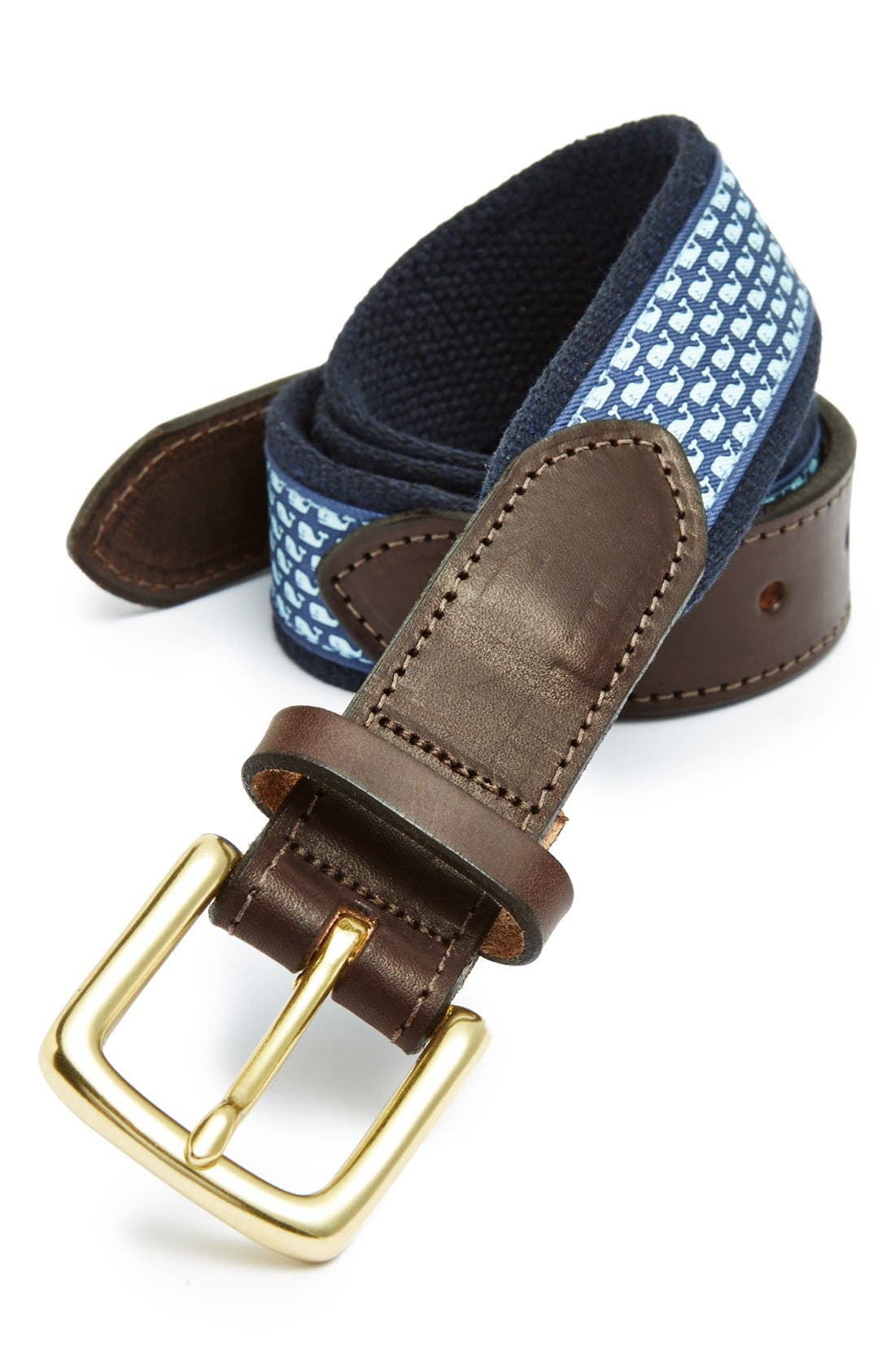 Whale Club Leather & Canvas Belt,                         Main,                         color, Navy