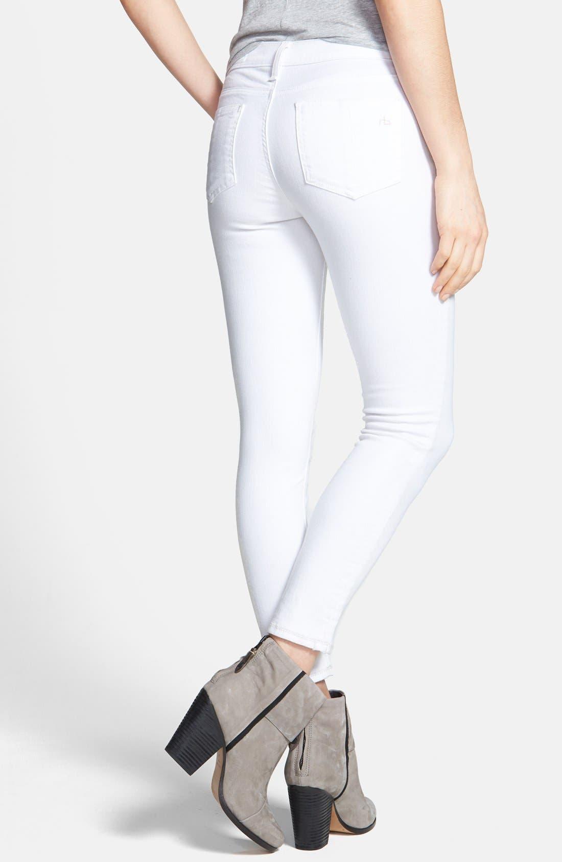 Alternate Image 2  - rag & bone/JEAN 'The Skinny' Crop Jeans (Bright White)
