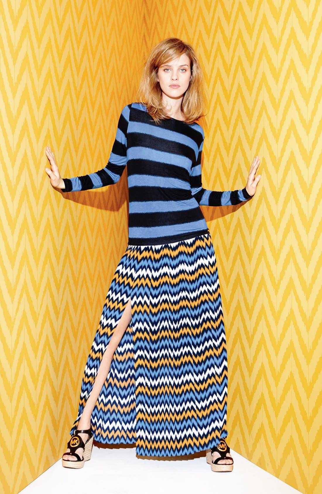 Alternate Image 4  - MICHAEL Michael Kors Ikat Print Pleat Maxi Skirt (Regular & Petite)