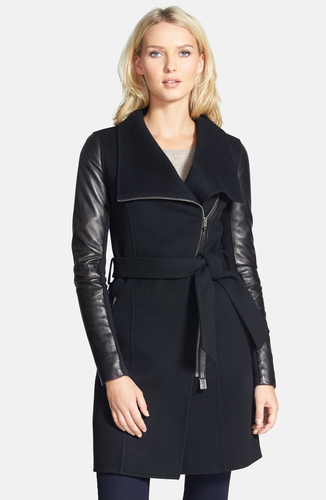 Main Image - Mackage 'Hemy' Leather Sleeve Asymmetrical Long Coat
