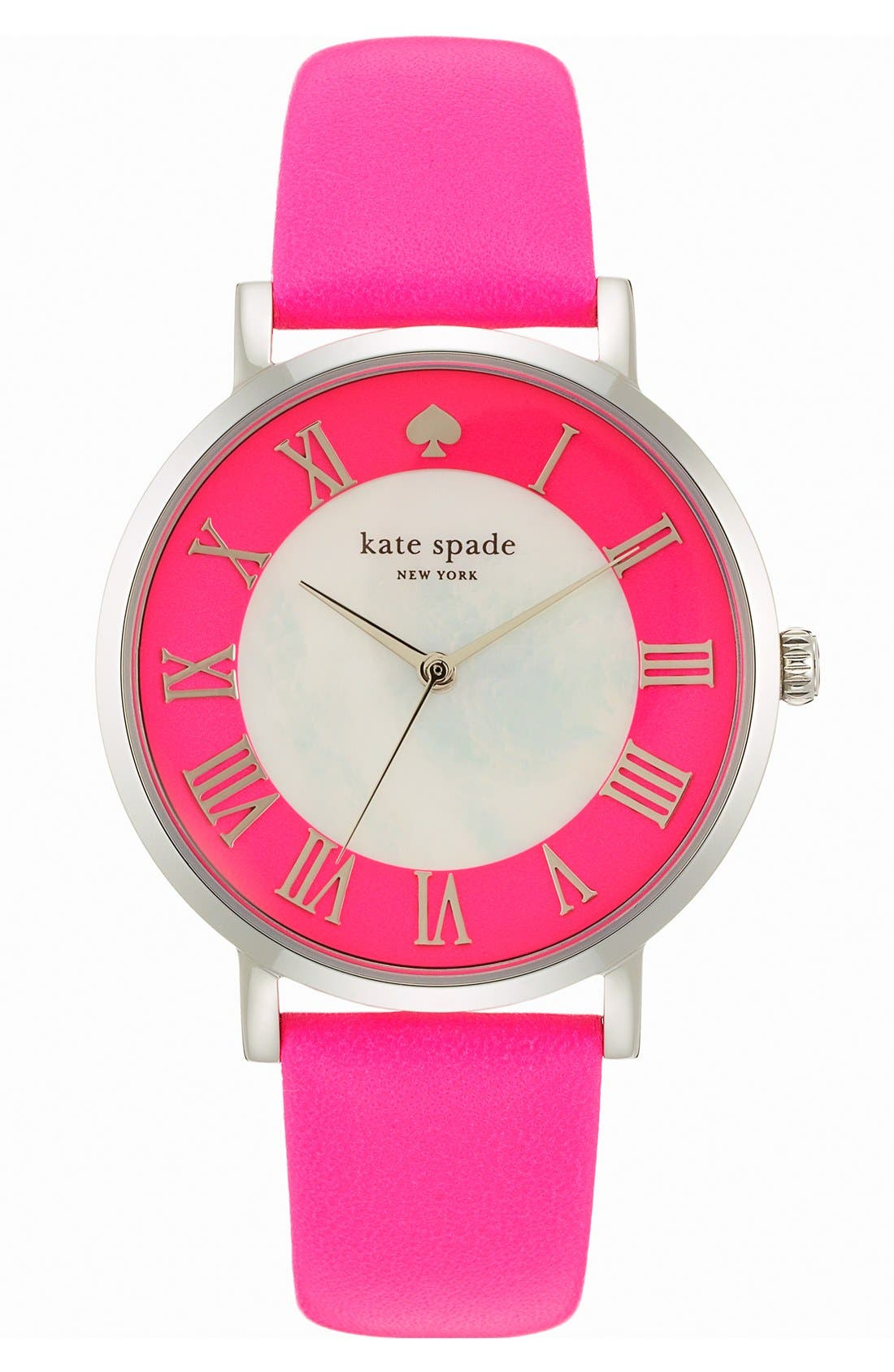 Main Image - kate spade new york 'metro grand' round leather strap watch, 38mm