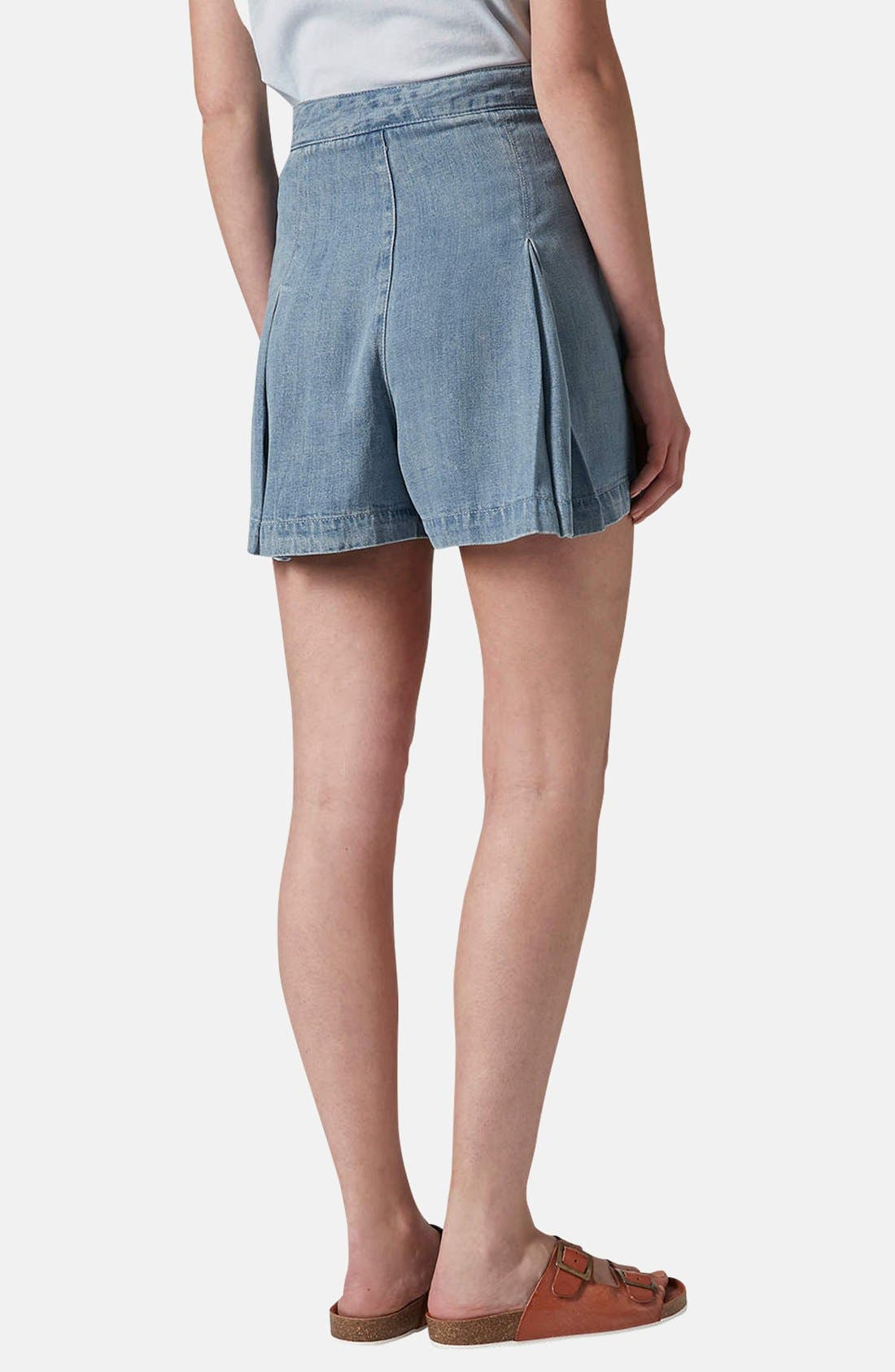 Alternate Image 2  - Topshop Moto Pleated Denim Skort