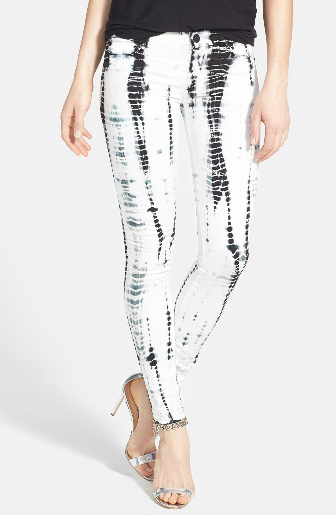 Main Image - Hudson Jeans 'Krista' Stripe Super Skinny Jeans (Illusions)