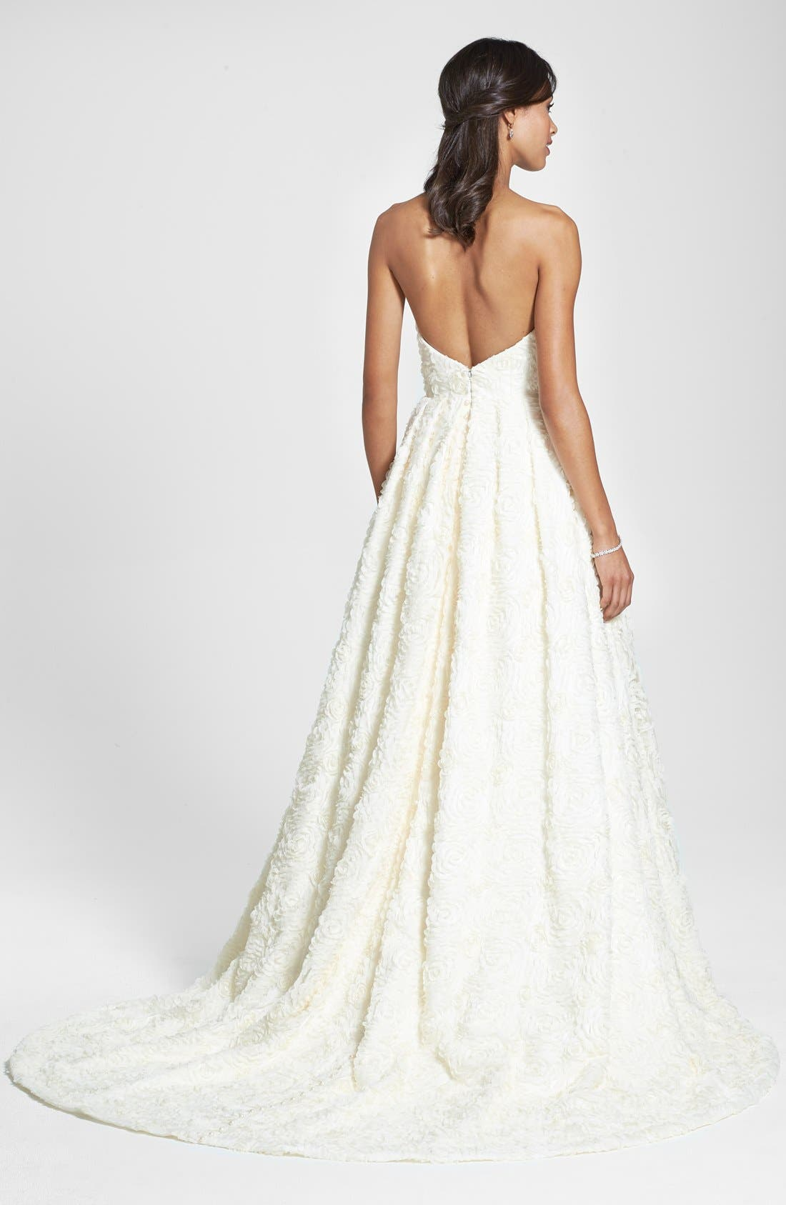 Delia Rosette Silk Blend Lace Chiffon Dress,                             Alternate thumbnail 2, color,                             Dark Ivory