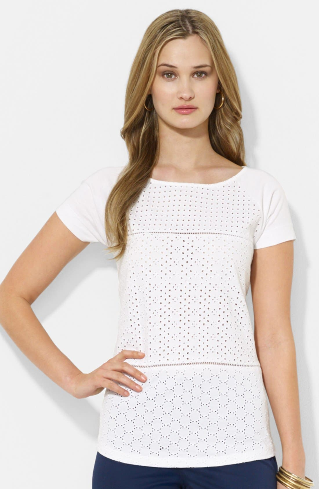 Eyelet Front Tee,                         Main,                         color, White