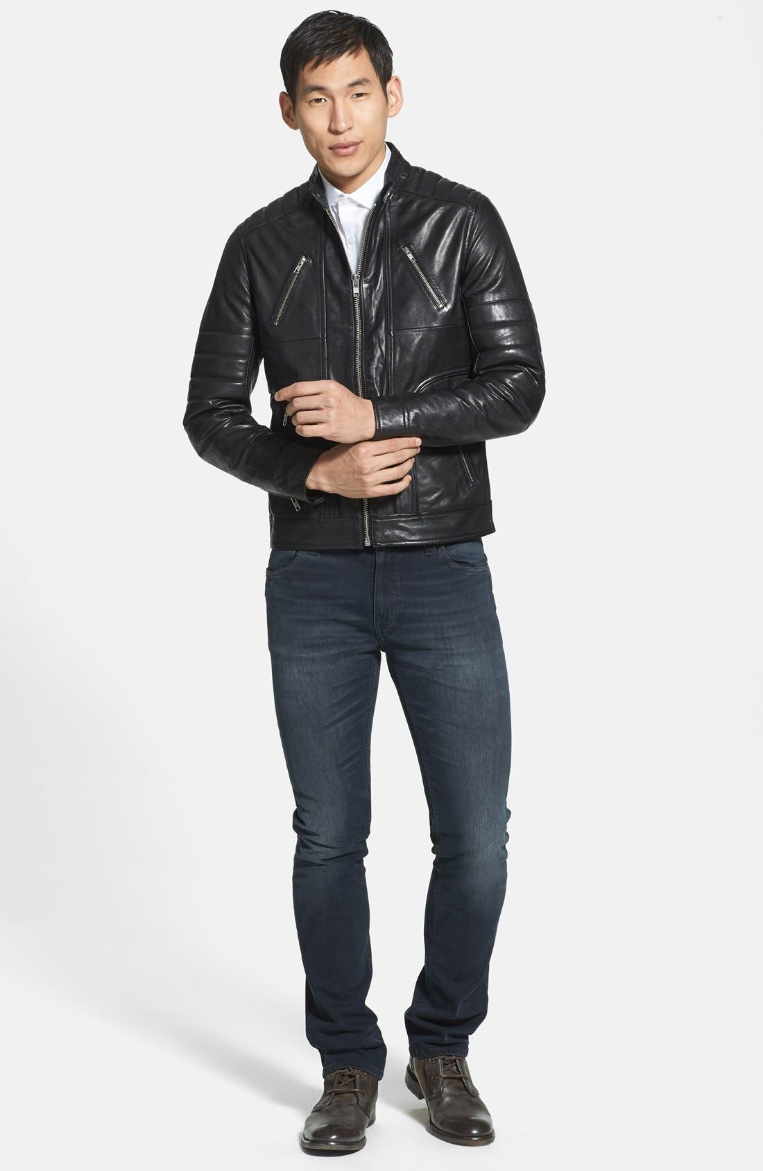 Alternate Image 4  - LAMARQUE Trim Fit Leather Biker Jacket (Online Only)
