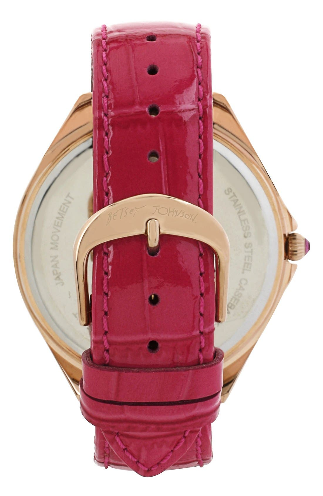 Alternate Image 2  - Betsey Johnson Pavé Dial Embossed Leather Strap Watch, 48mm