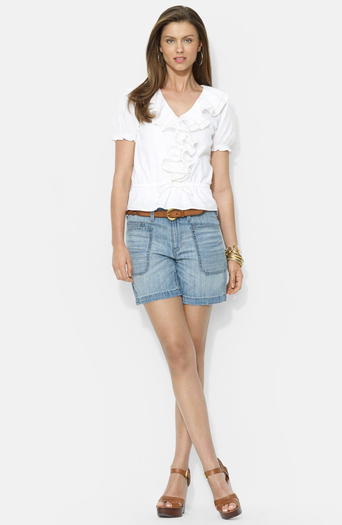 Alternate Image 2  - Lauren Ralph Lauren Ruffle Front V-Neck Blouse