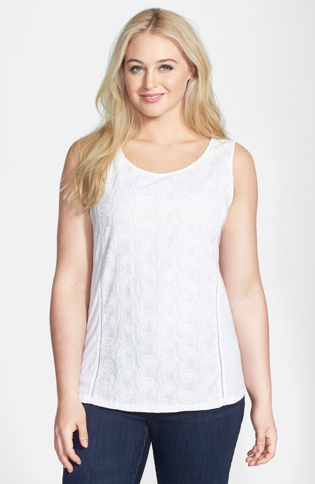 Alternate Image 1 Selected - Lucky Brand Schiffli Embroidered Tank (Plus Size)