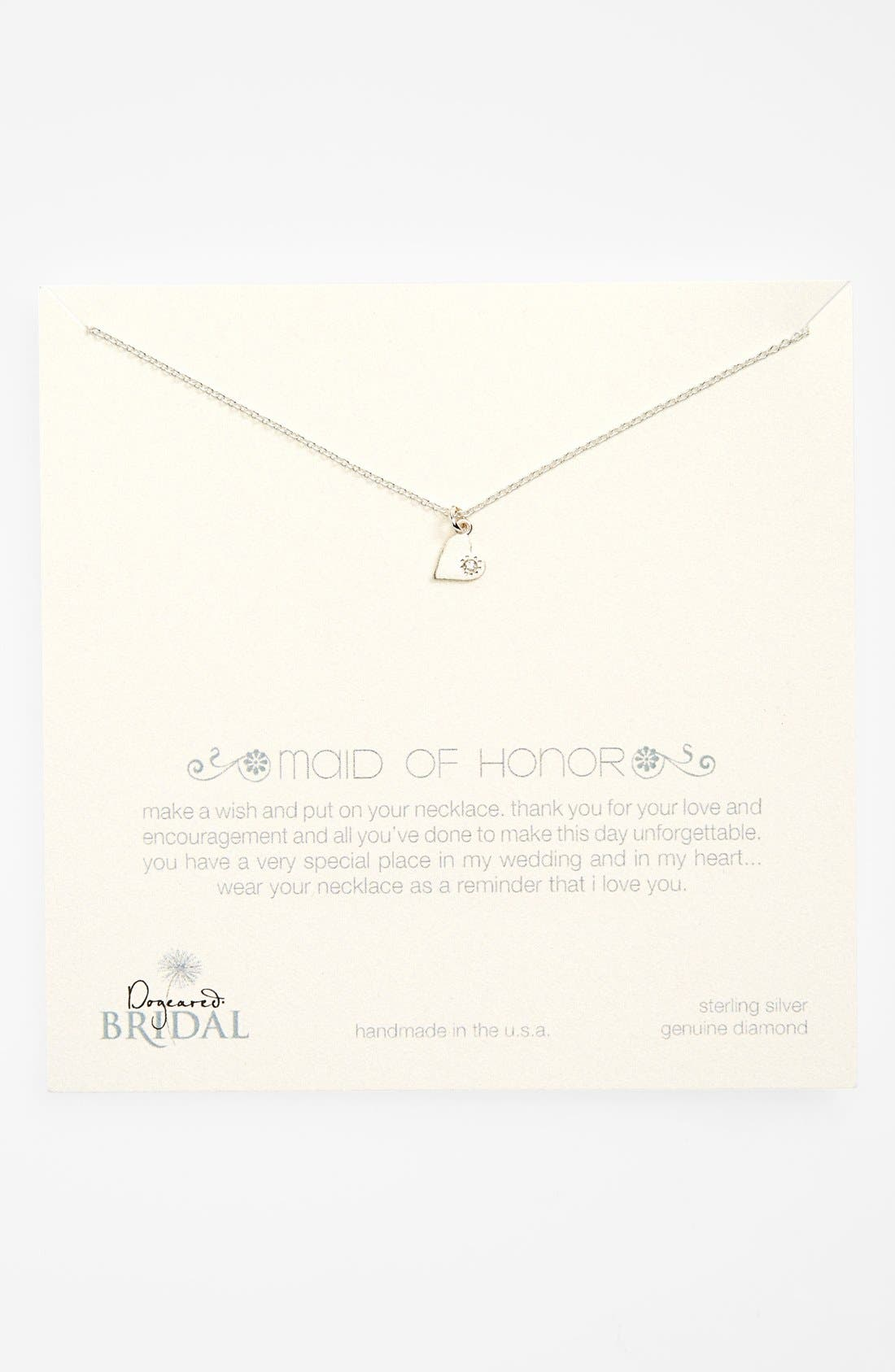 Alternate Image 1 Selected - Dogeared 'Maid of Honor - Heart' Pendant Necklace (Nordstrom Exclusive)