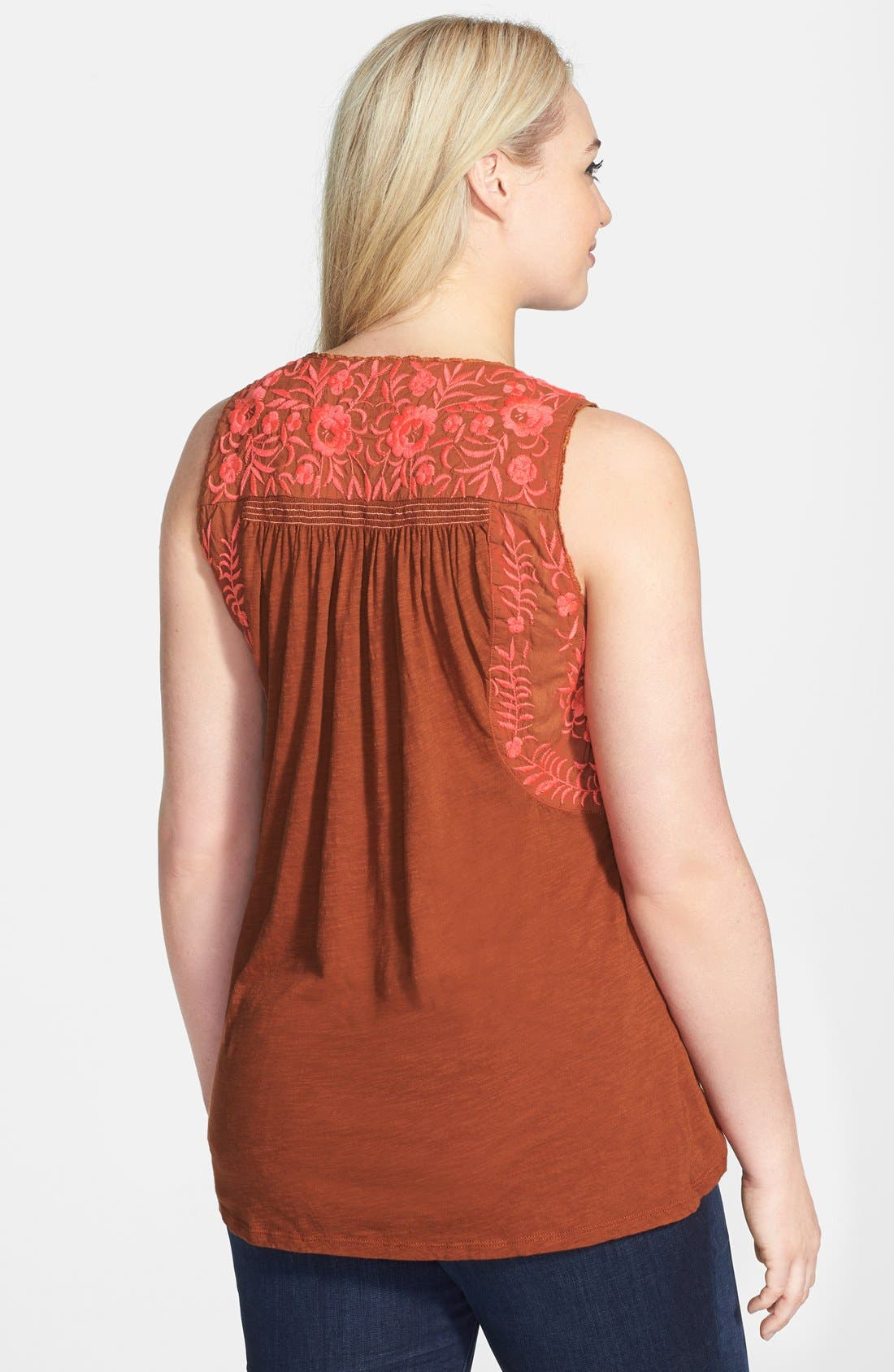 Alternate Image 2  - Lucky Brand 'Rosalina' Embroidered Cotton Tank (Plus Size)