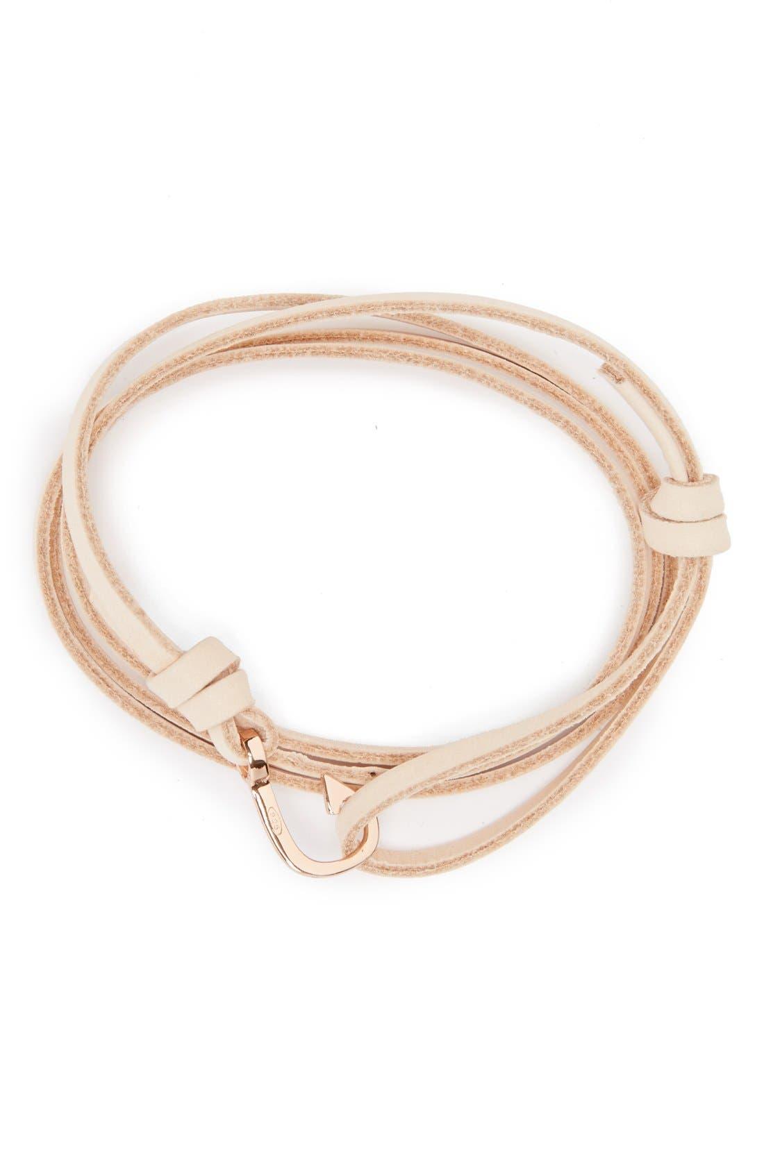 Rose Gold Mini Hook Leather Bracelet,                         Main,                         color, Natural