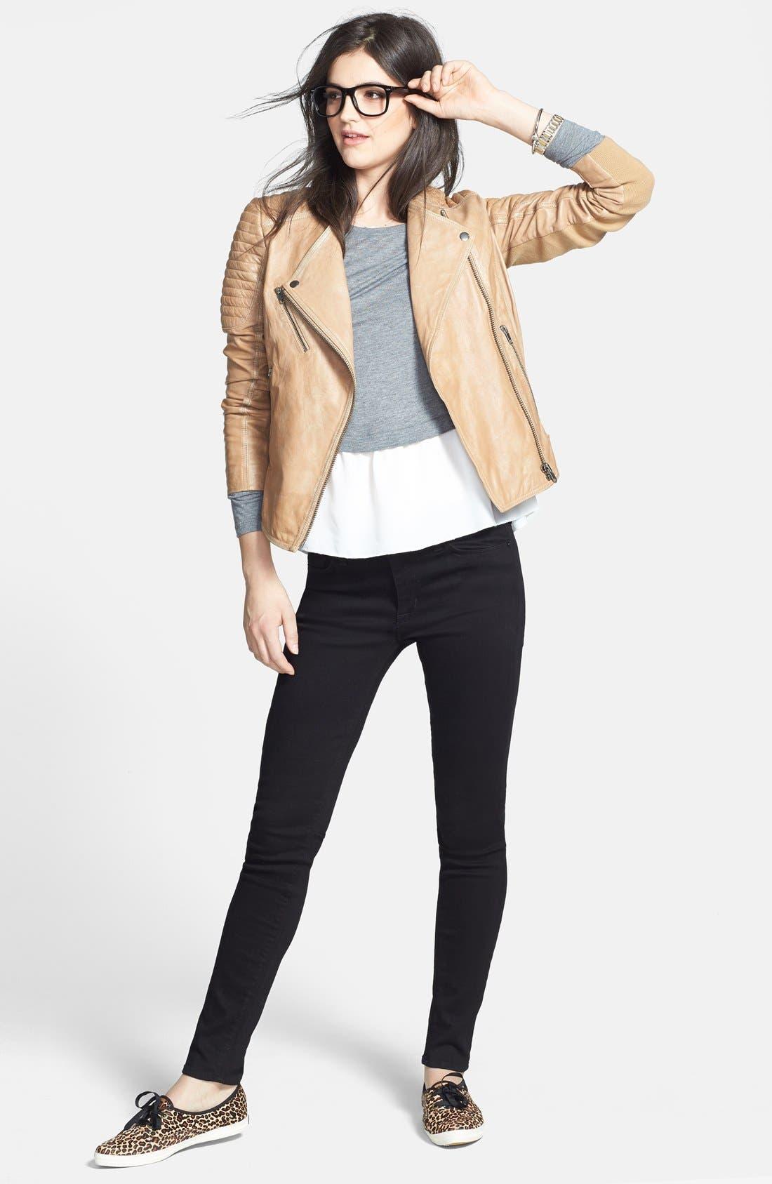 Alternate Image 5  - Hudson Jeans 'Nico' Mid Rise Super Skinny Jeans (Black)