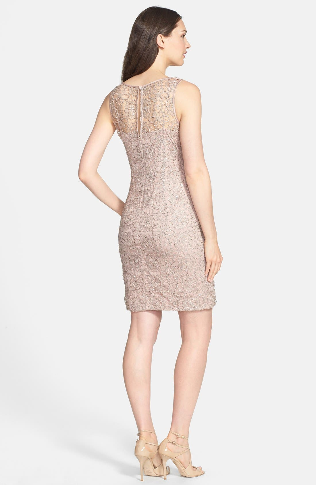 Alternate Image 2  - Adrianna Papell Sleeveless Sequin Metallic Lace Dress