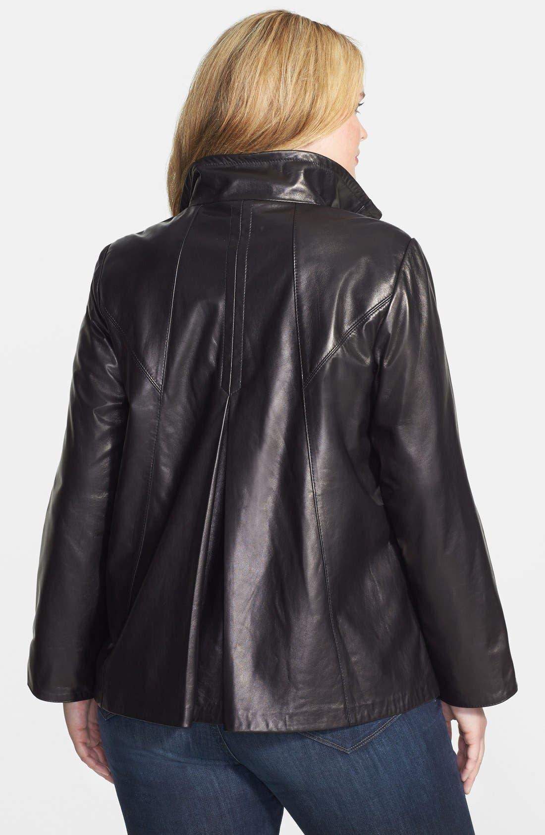 Alternate Image 2  - Ellen Tracy Front Zip Lambskin Leather A-Line Jacket (Plus Size)