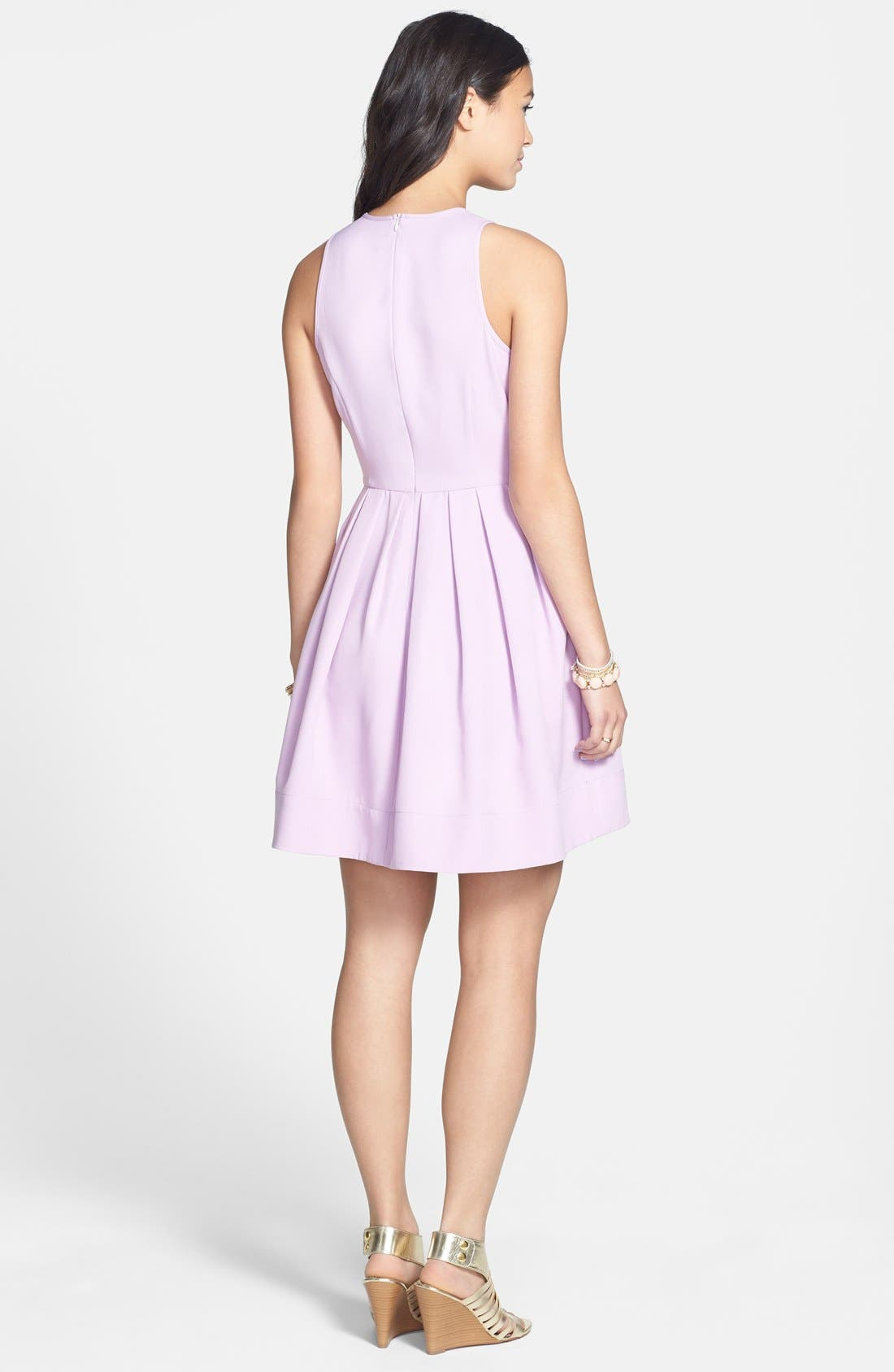 Alternate Image 2  - Everly Mesh Yoke Fit & Flare Dress (Juniors) (Online Only)