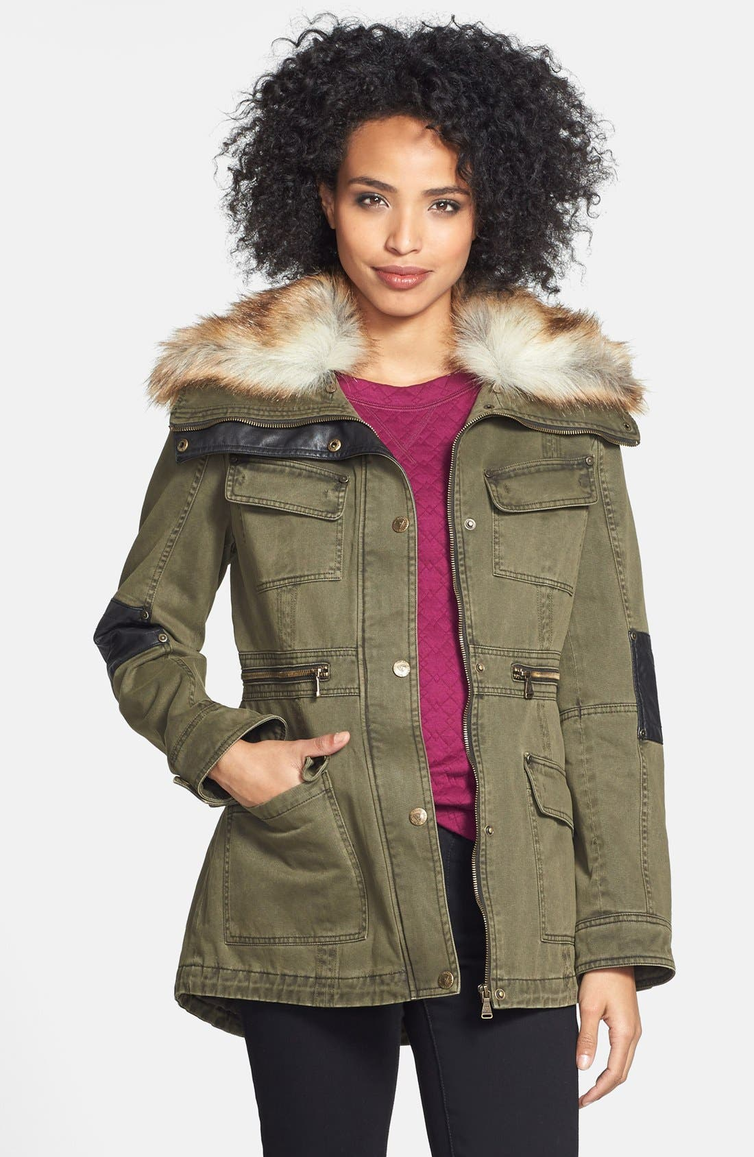 Alternate Image 1 Selected - GUESS Faux Fur Trim Anorak