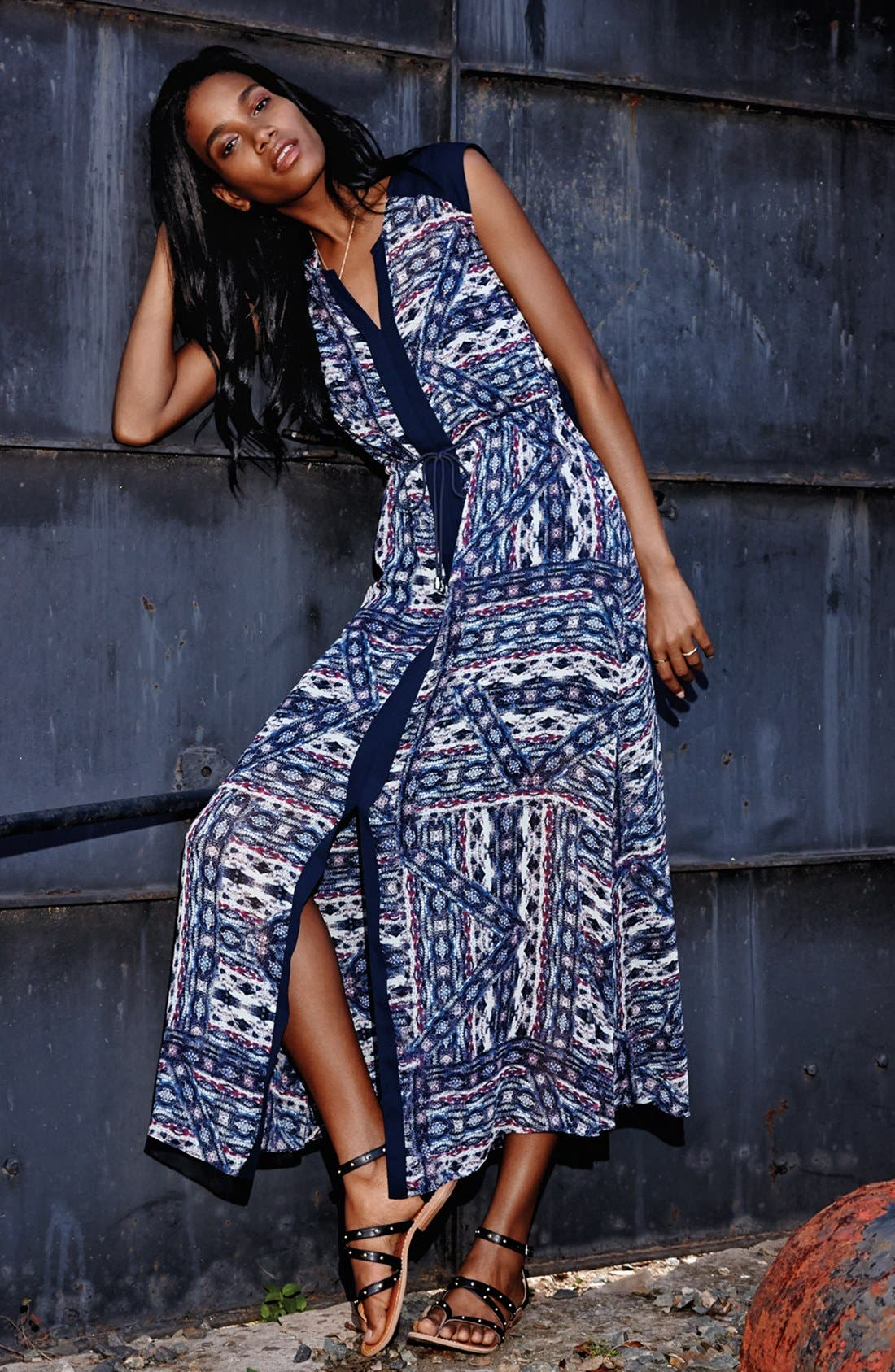 Alternate Image 4  - Vince Camuto 'Tribal Patchwork' Tie Waist Maxi Dress (Regular & Petite)