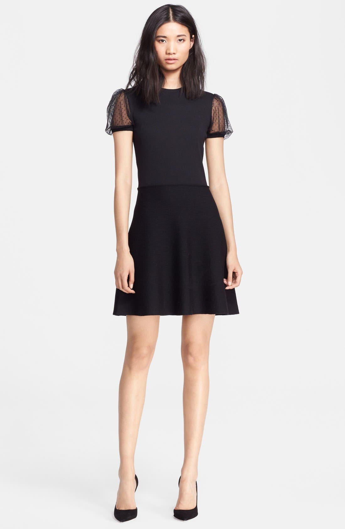 Main Image - RED Valentino Tulle Sleeve Fit & Flare Dress