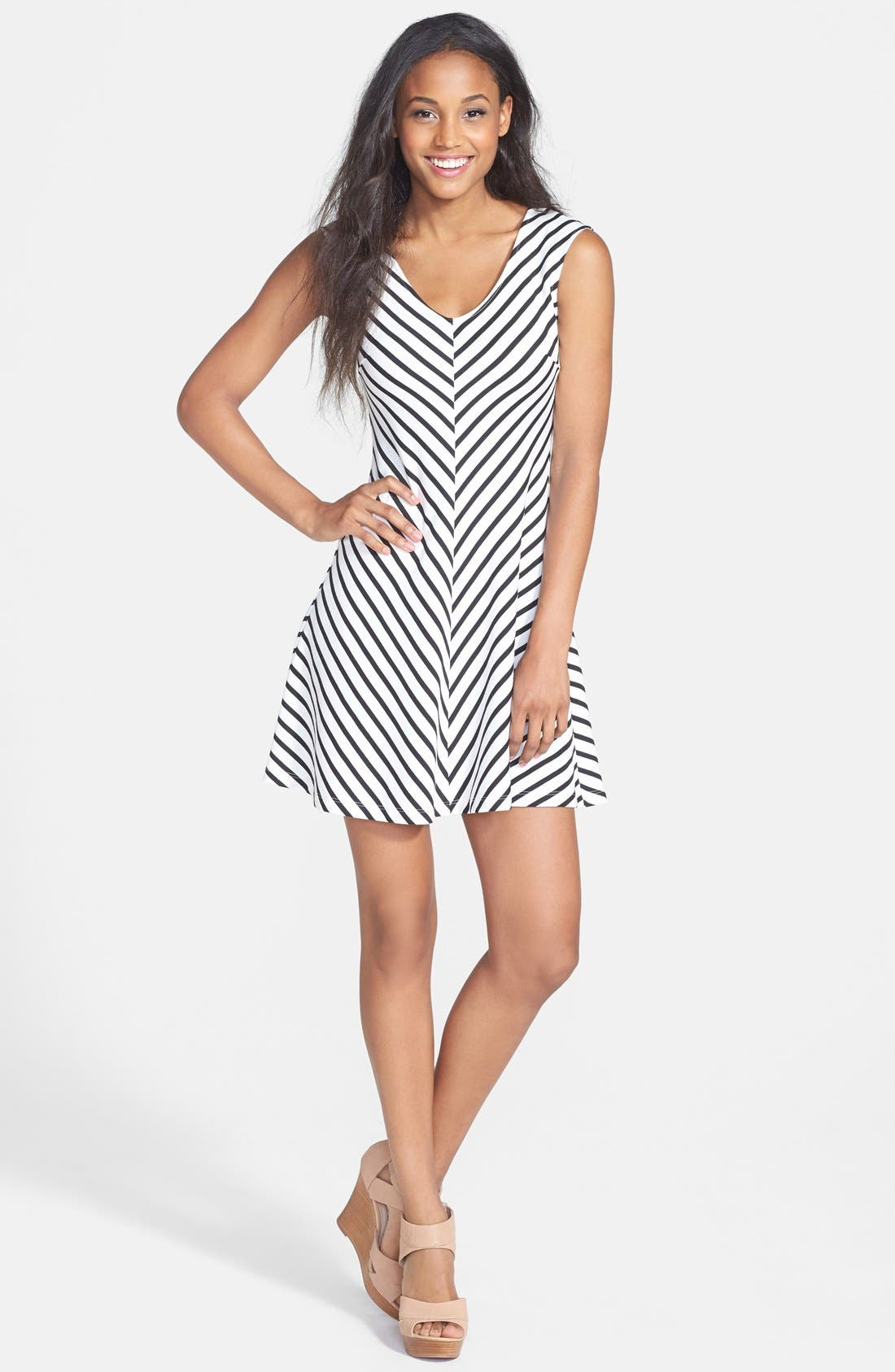Alternate Image 1 Selected - Soprano Cutout Stripe Skater Dress (Juniors)