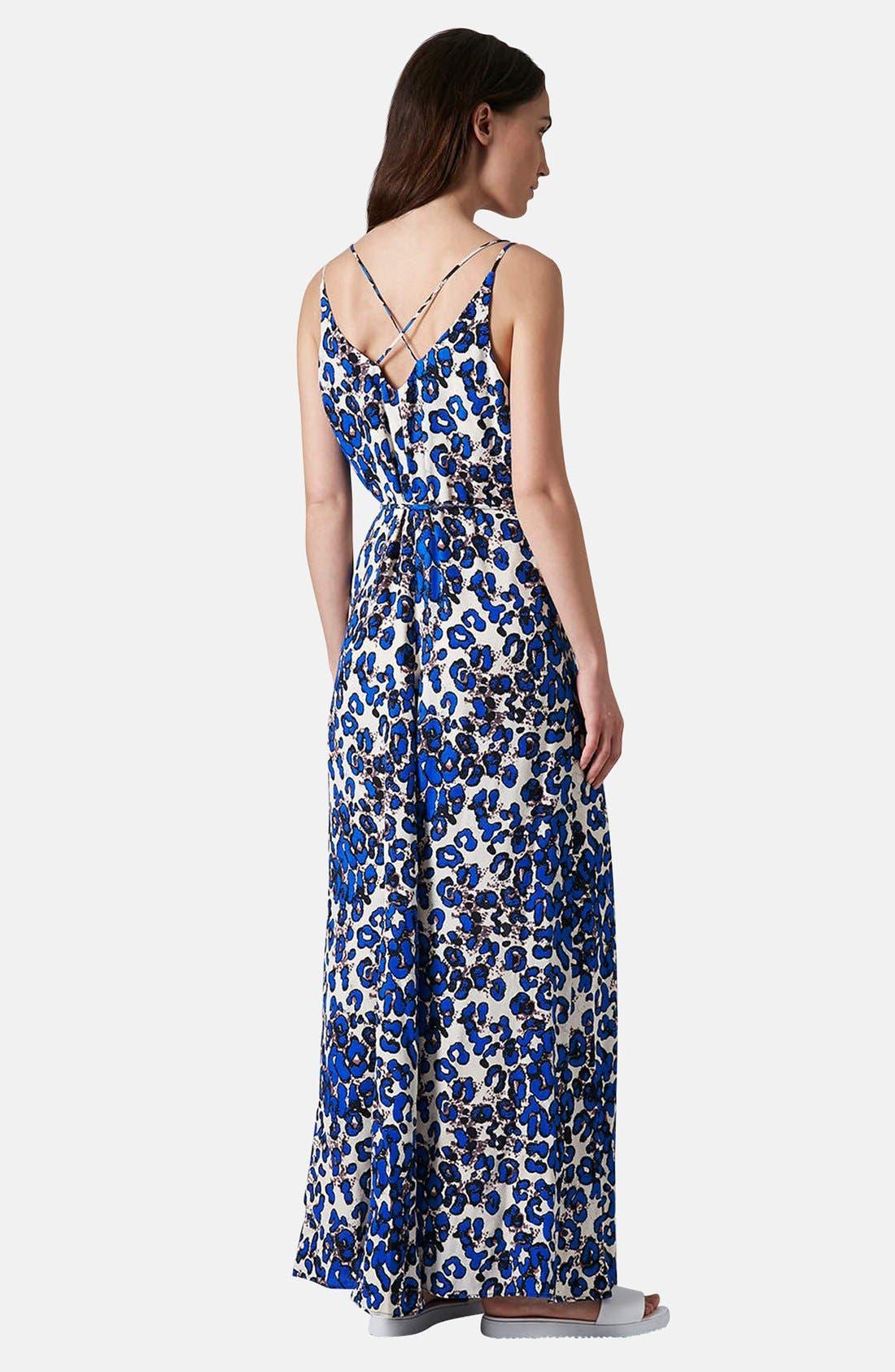 Print Cross Back Maxi Dress,                             Alternate thumbnail 2, color,                             Blue